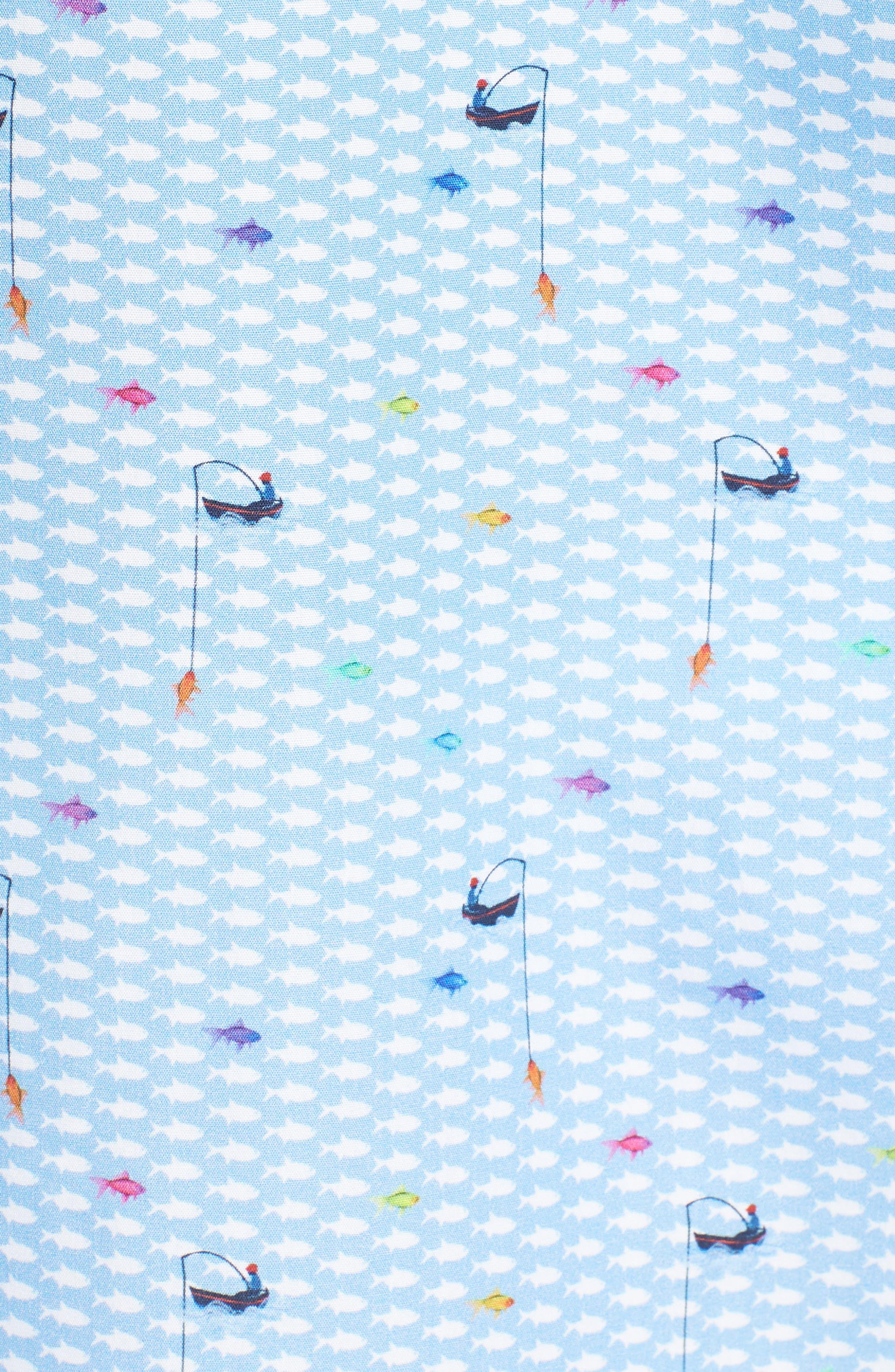 Classic Fit Fisherman Print Sport Shirt,                             Alternate thumbnail 5, color,                             Air Blue
