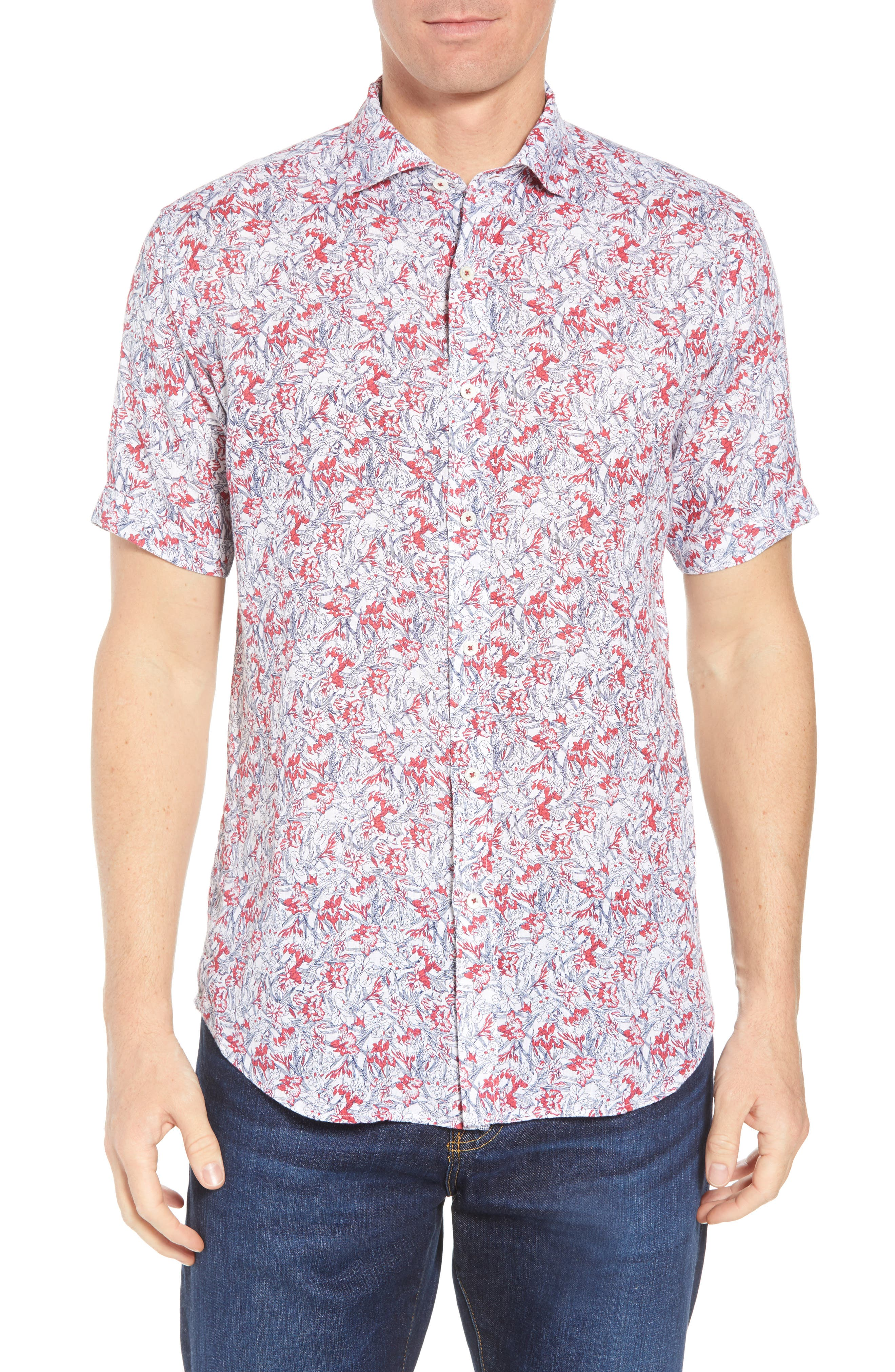 Shaped Fit Print Linen Sport Shirt,                             Main thumbnail 1, color,                             Pimento