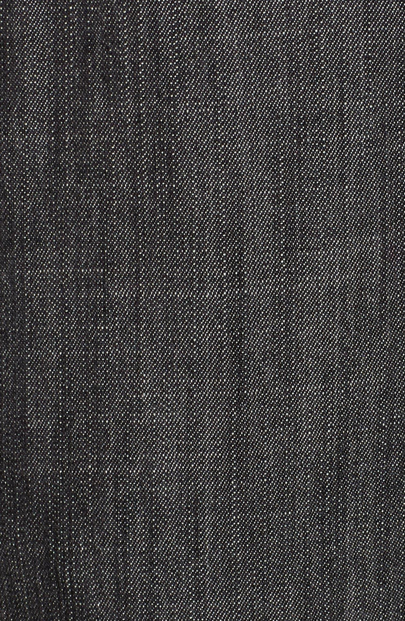 Drawstring Waist Chambray Pants,                             Alternate thumbnail 6, color,                             Black