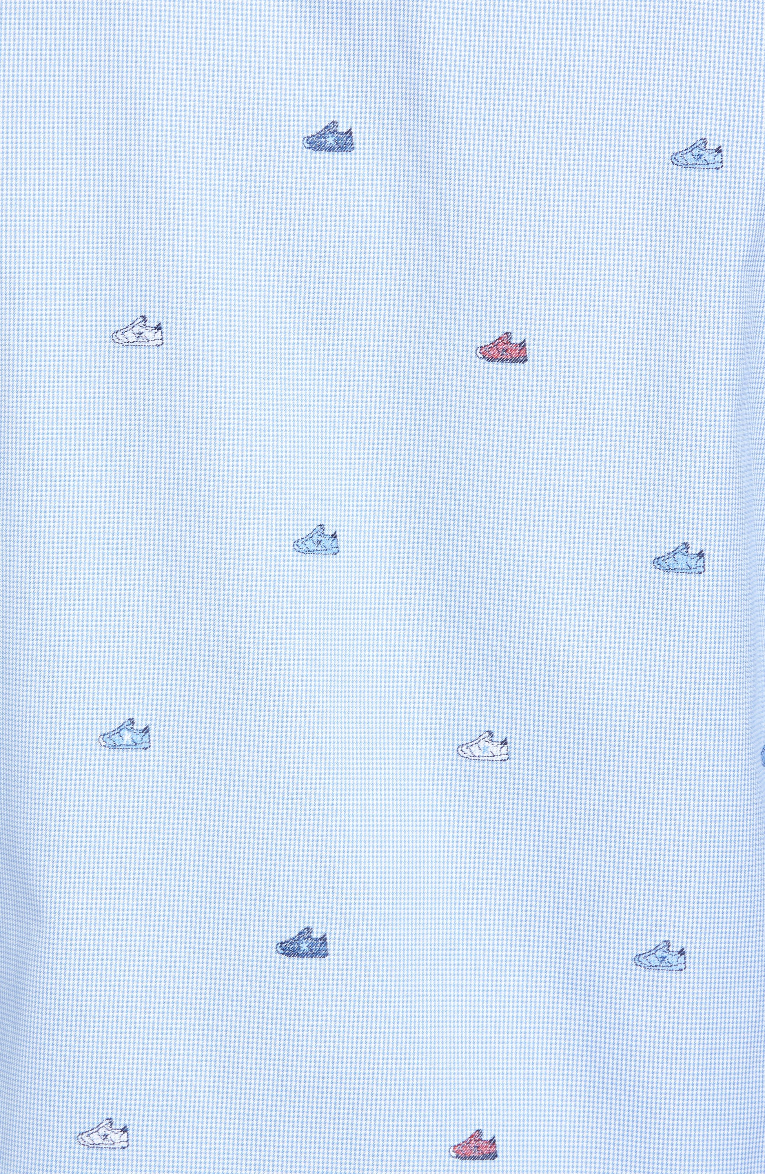 Shaped Fit Sneaker Jacquard Sport Shirt,                             Alternate thumbnail 5, color,                             Classic Blue