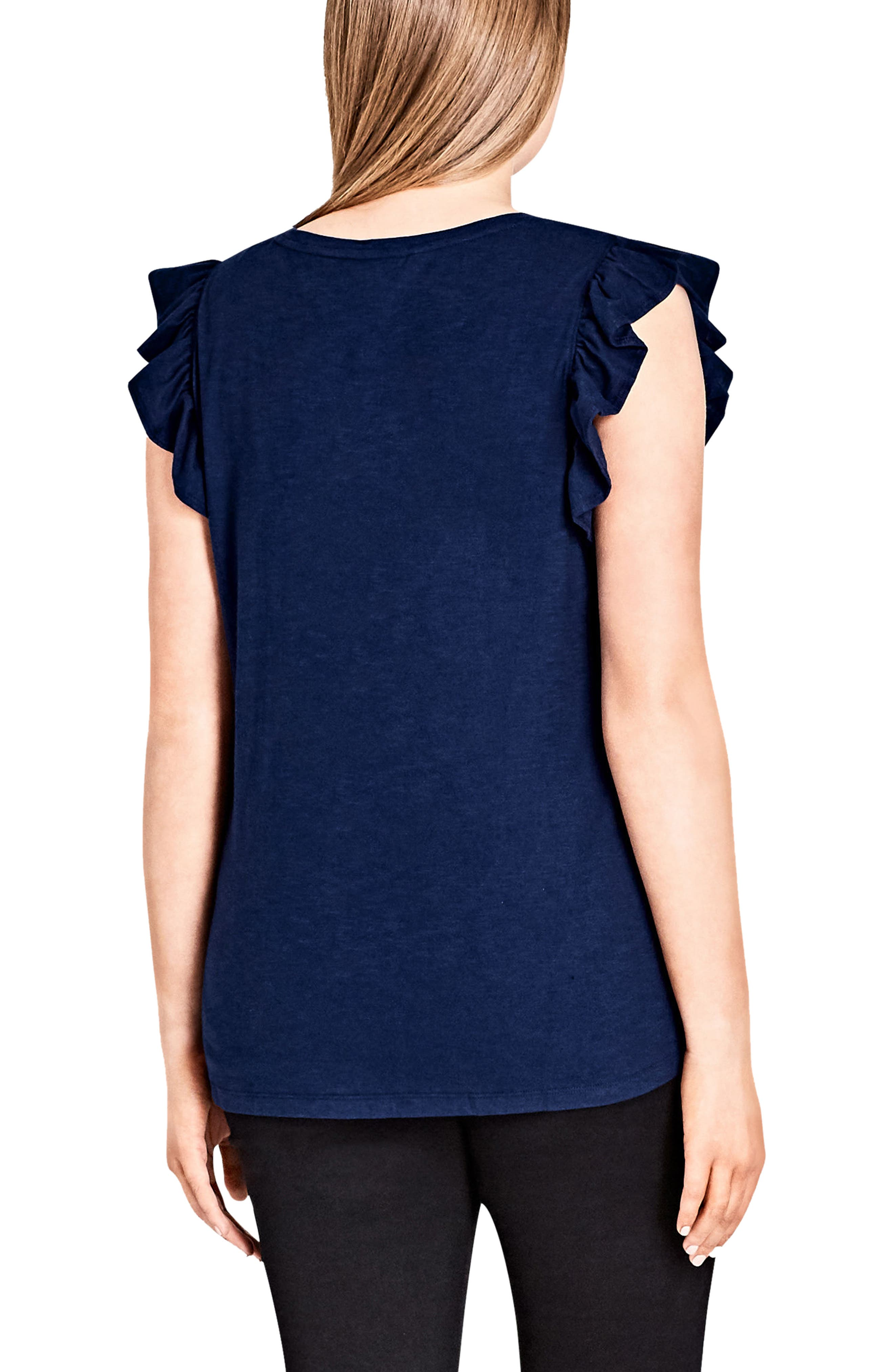 Top Frill Ruffle Trim Tank,                             Alternate thumbnail 2, color,                             Navy