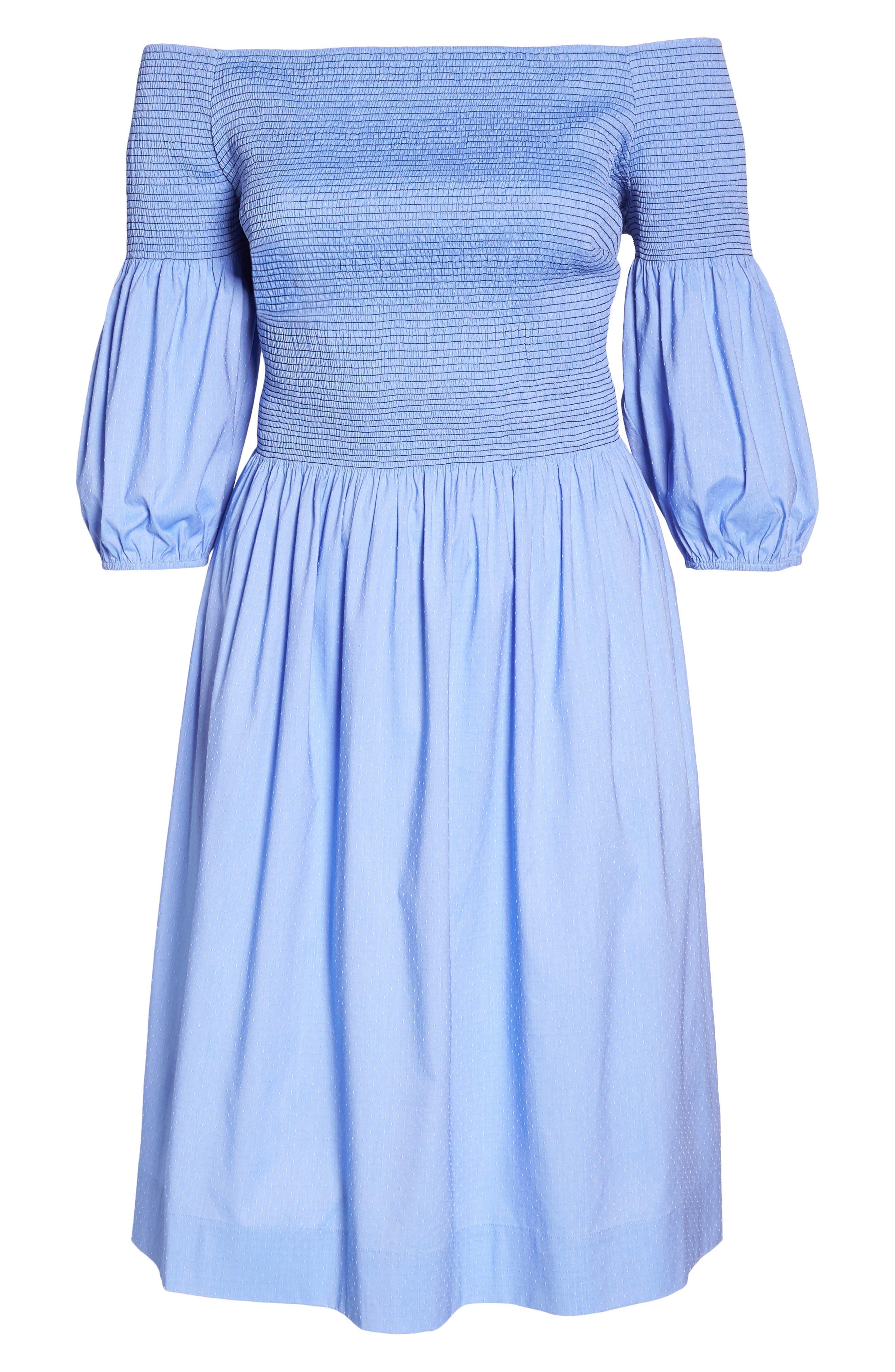 Off the Shoulder Smocked Bodice Midi Dress,                             Alternate thumbnail 7, color,                             Blue Ivory Swiss Dot