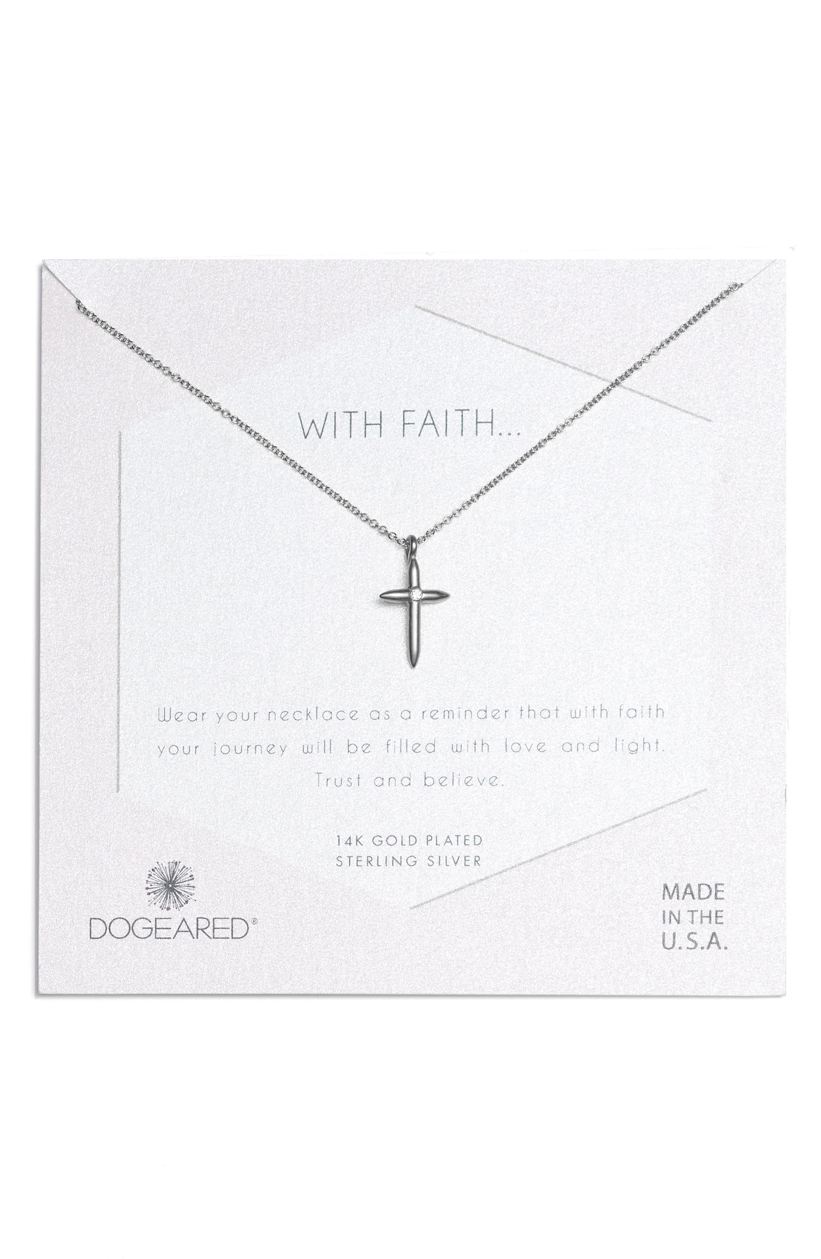 Faith Cross Necklace,                         Main,                         color, Silver