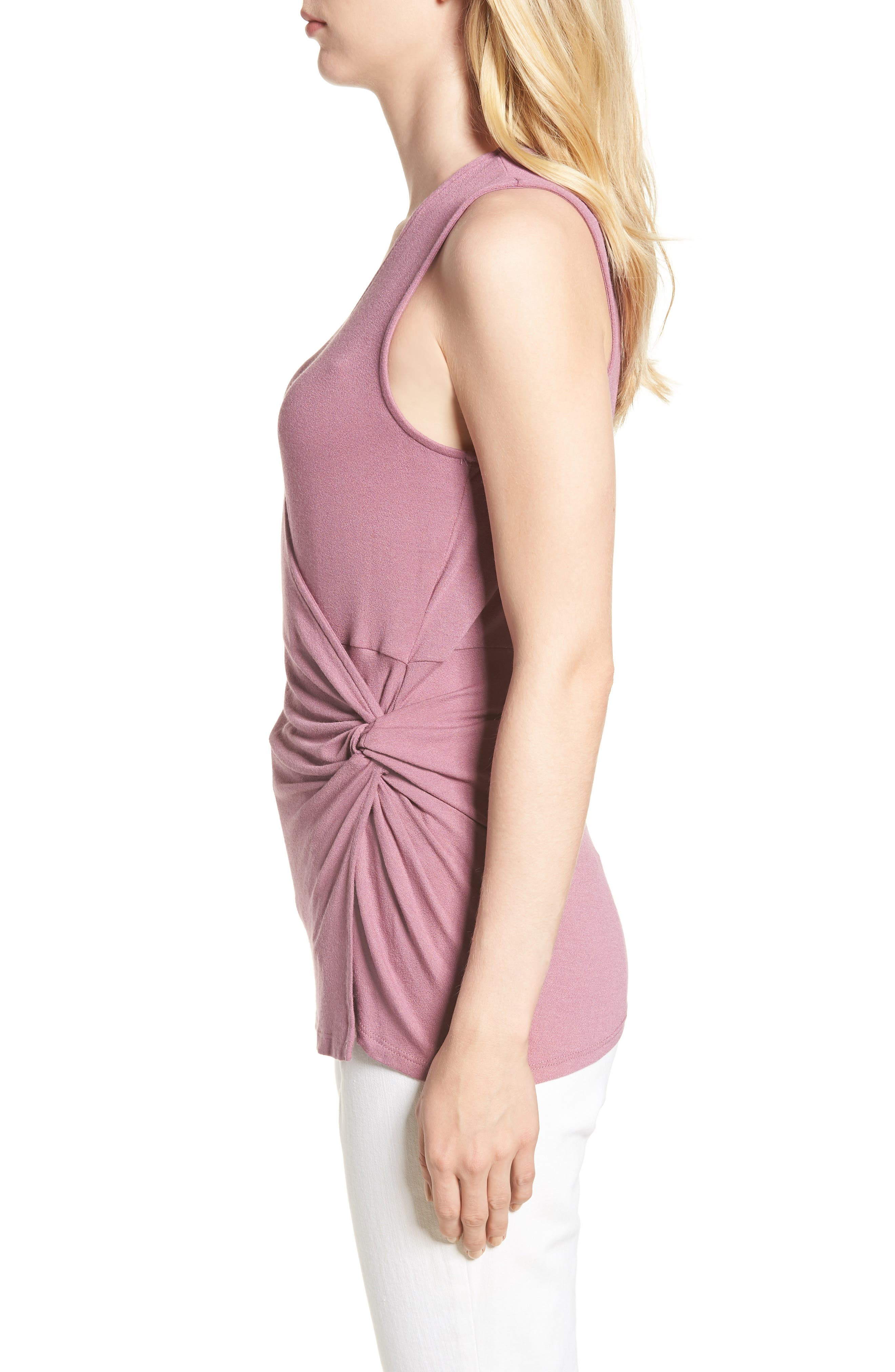 Side Knot Ruched Tank Top,                             Alternate thumbnail 3, color,                             Mauve