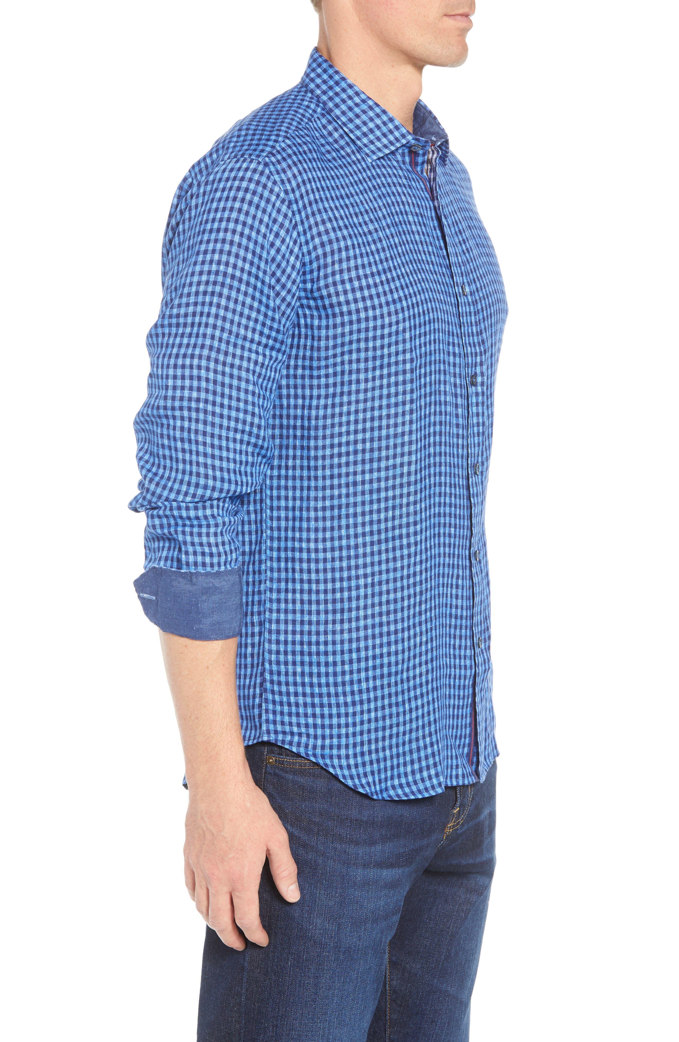 Shaped Fit Check Linen Sport Shirt,                             Alternate thumbnail 4, color,                             Classic Blue