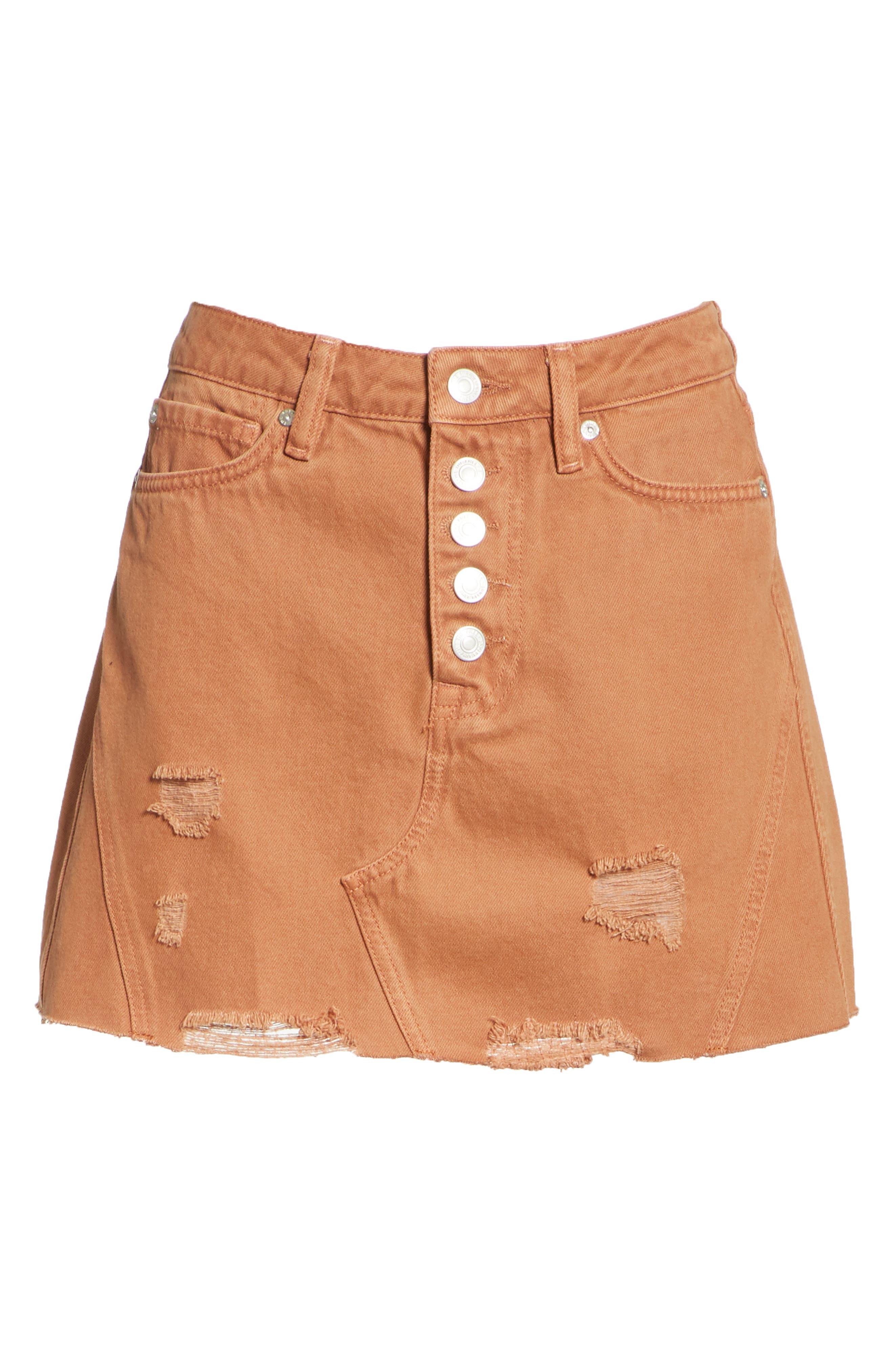 Denim A-Line Skirt,                             Alternate thumbnail 6, color,                             Bronze
