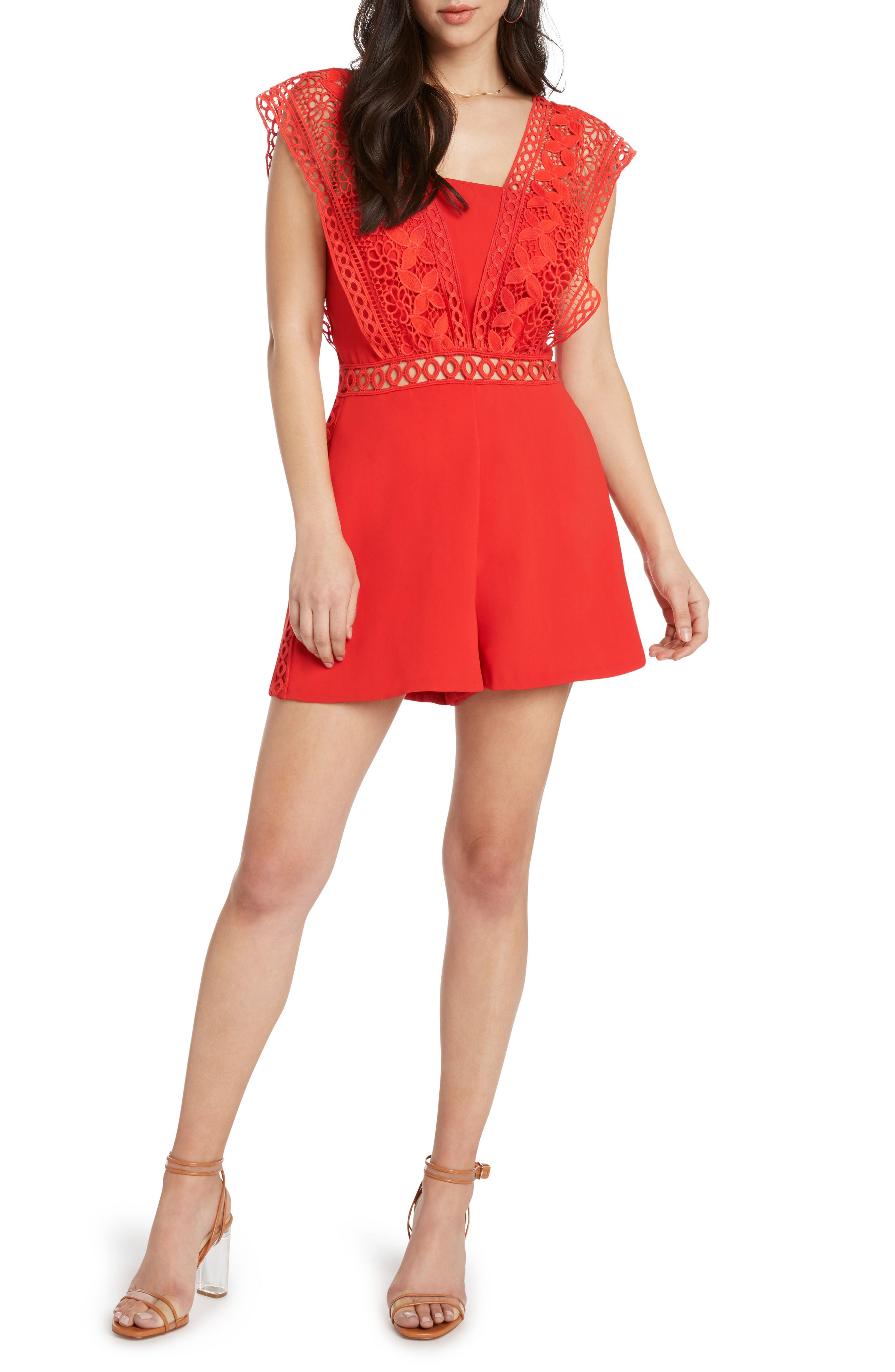 Lace Trim Romper,                         Main,                         color, Poppy