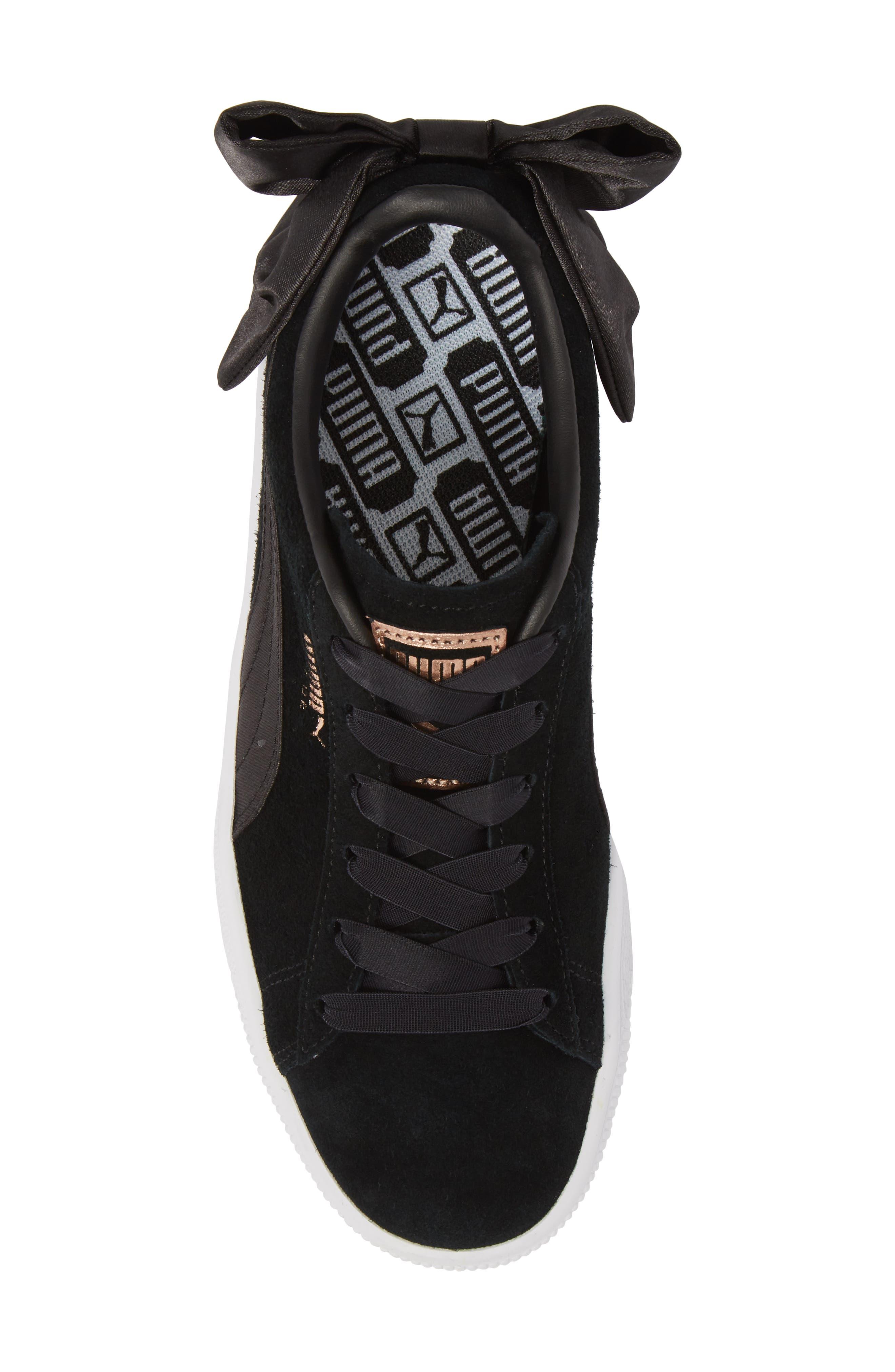 Bow Sneaker,                             Alternate thumbnail 5, color,                             Black/ Black