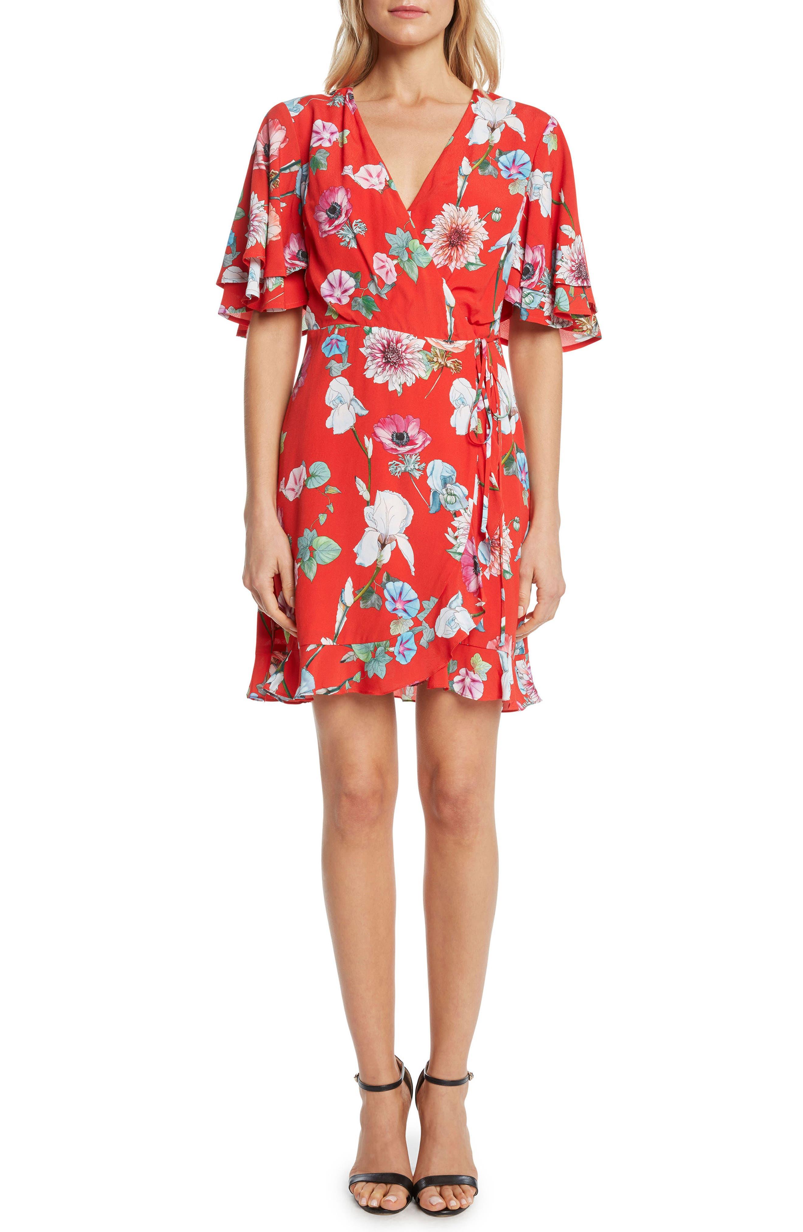 Floral Wrap Dress,                             Main thumbnail 1, color,                             Lipstick