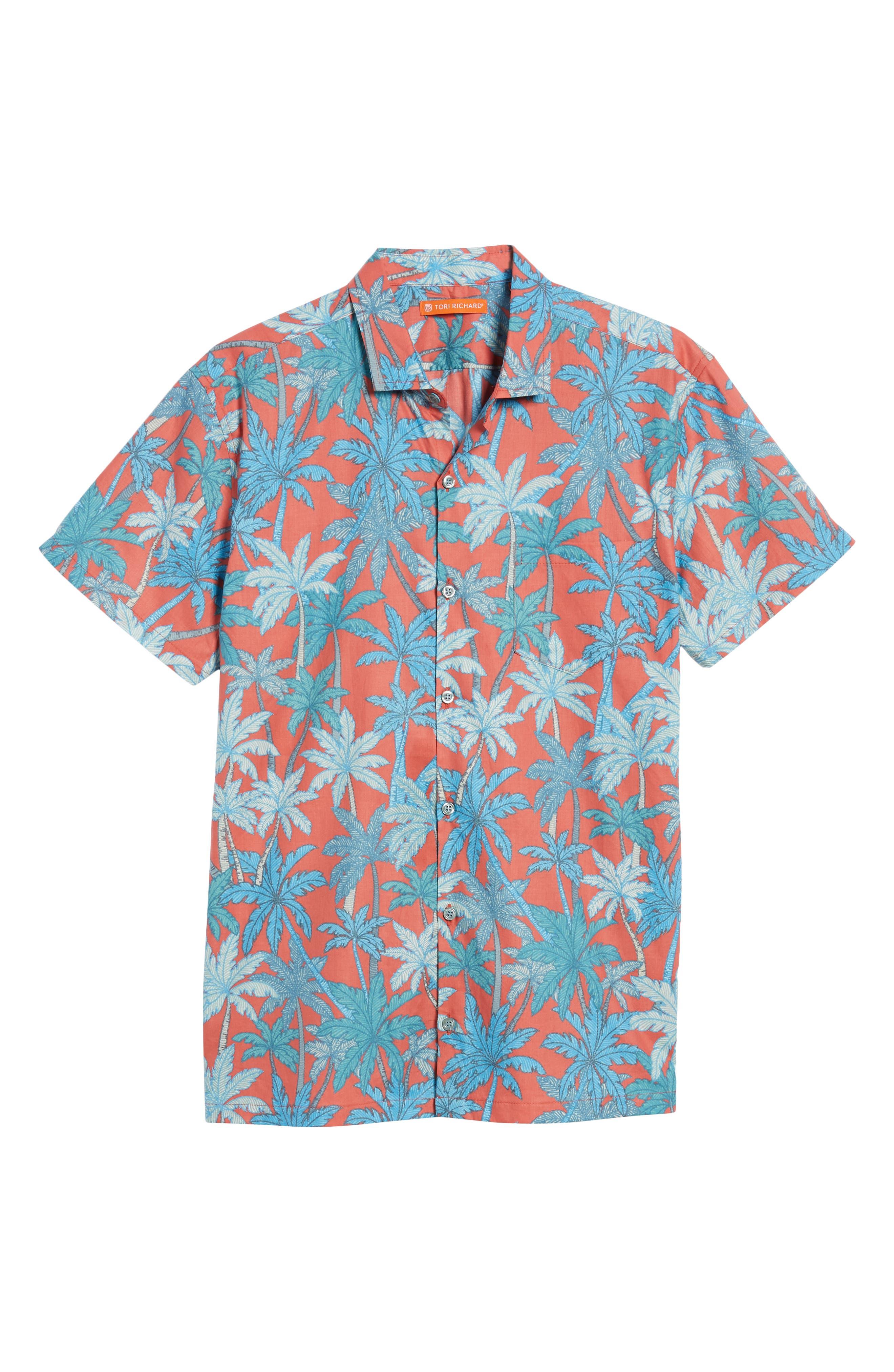 Pick a Palm Trim Fit Camp Shirt,                             Alternate thumbnail 6, color,                             Guava