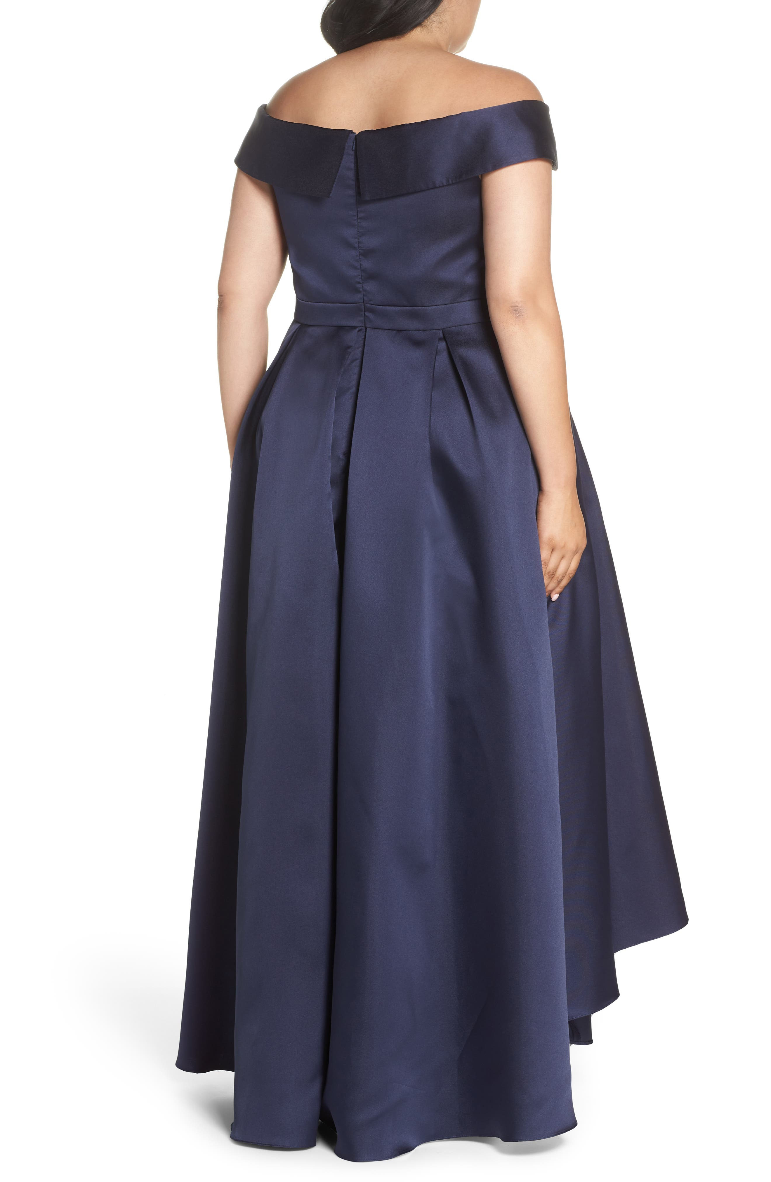 Off the Shoulder Mikado High/Low Gown,                             Alternate thumbnail 2, color,                             Navy