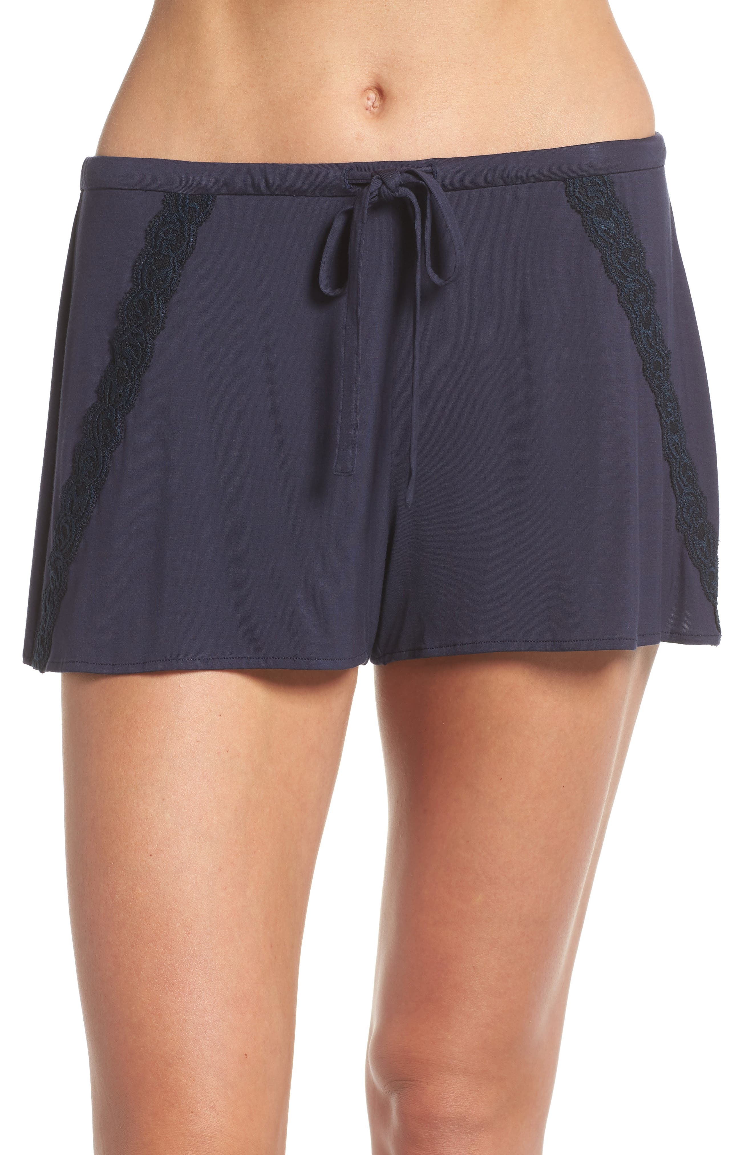 Feathers Essential Pajama Shorts,                             Main thumbnail 1, color,                             Night Blue