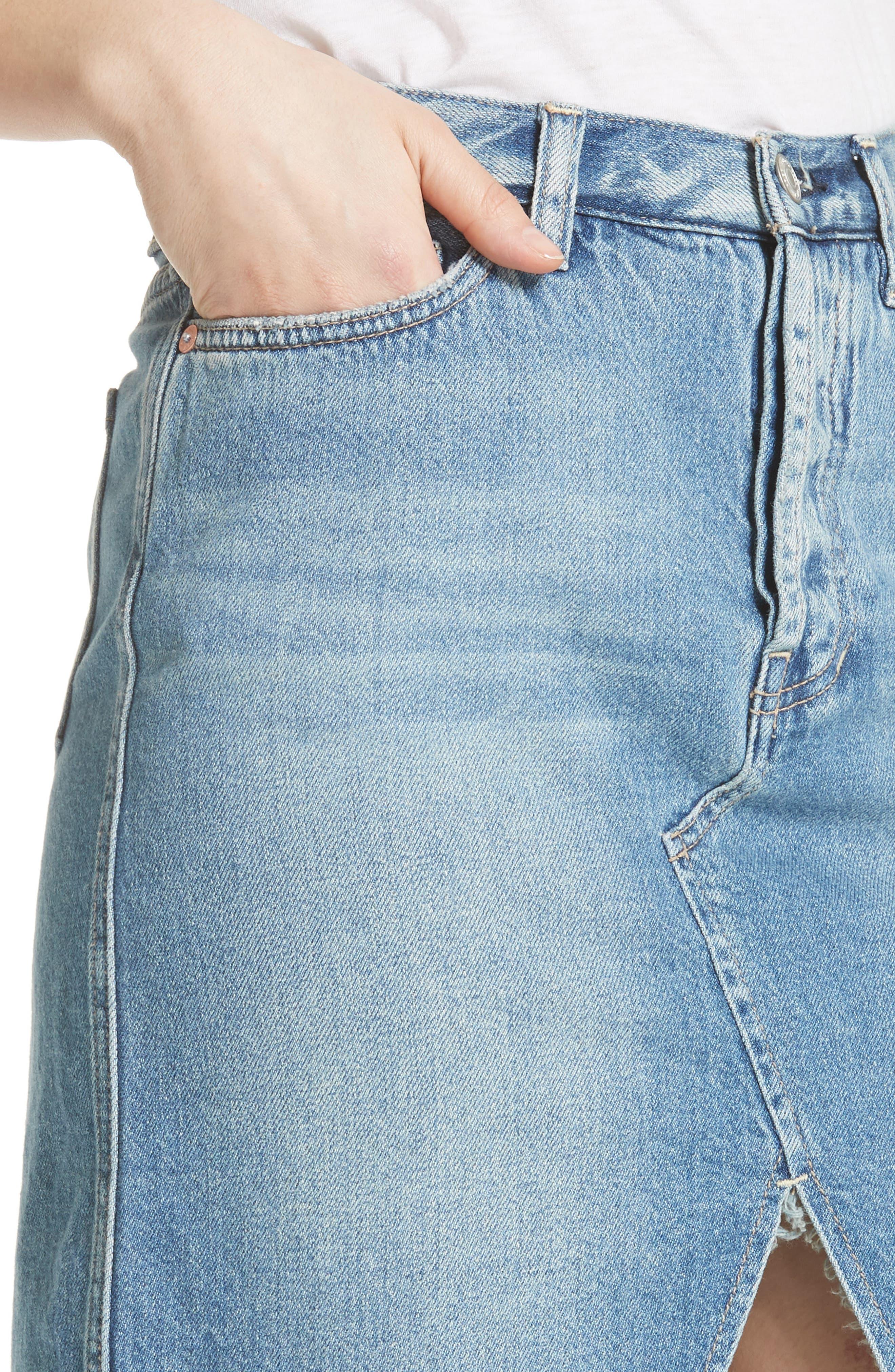 Front Slit Denim Skirt,                             Alternate thumbnail 4, color,                             Blue