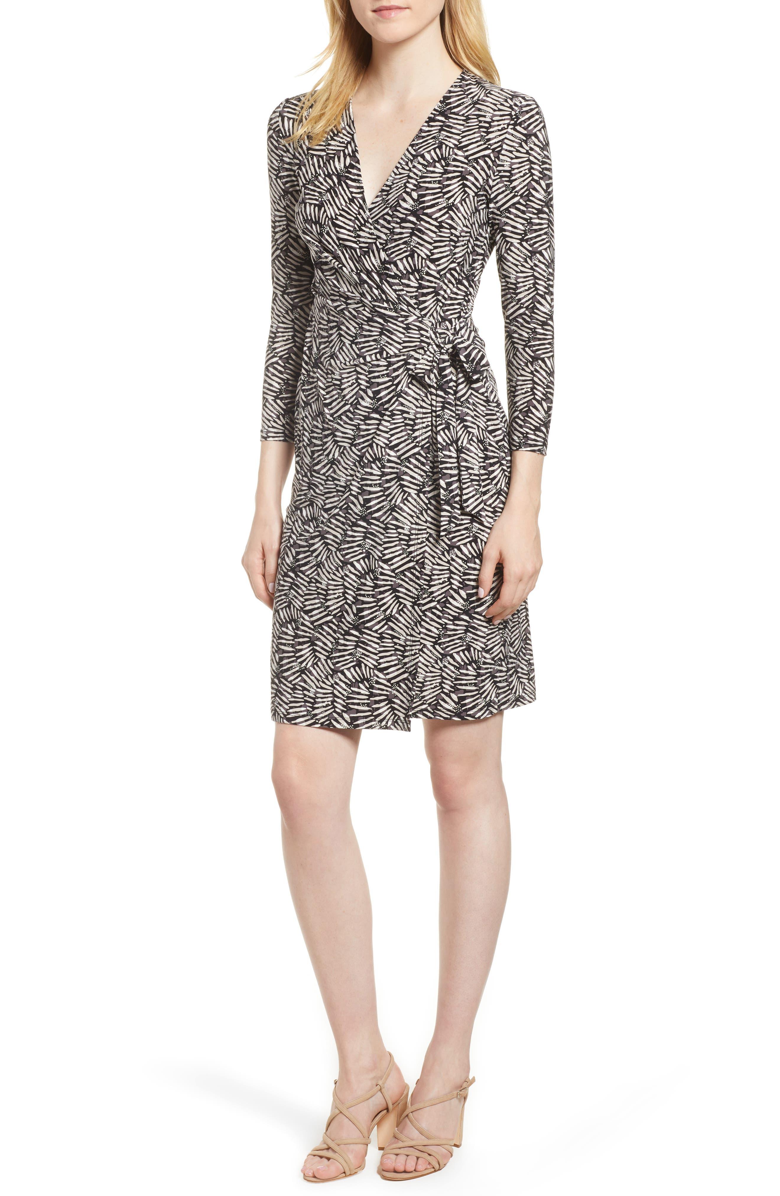 Cedarwood Stretch Crepe Faux Wrap Dress,                             Main thumbnail 1, color,                             Black/ Oyster Shell Combo