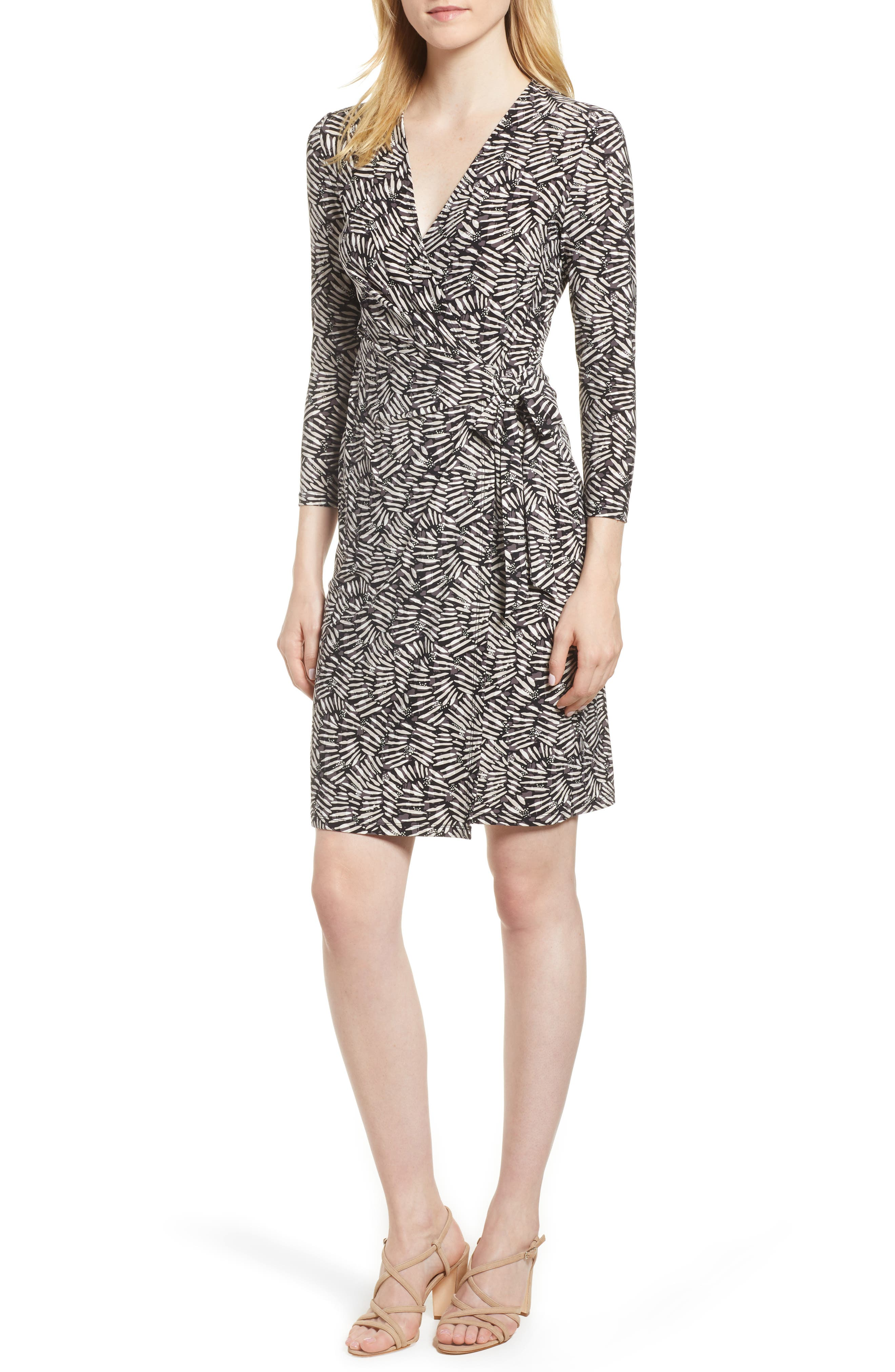 Cedarwood Stretch Crepe Faux Wrap Dress,                         Main,                         color, Black/ Oyster Shell Combo