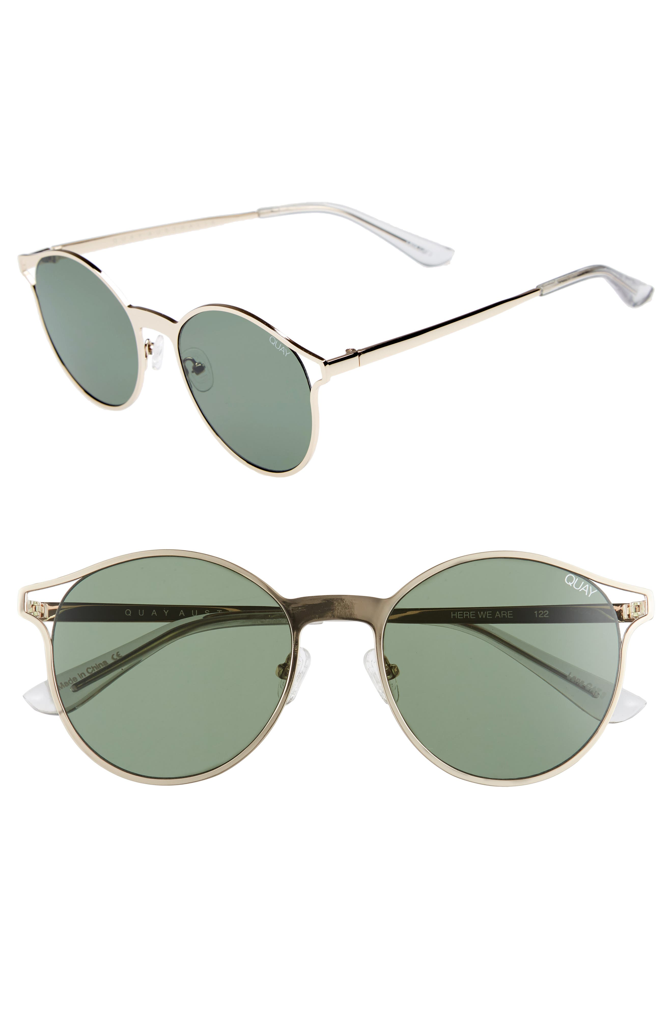 Here We Are 53mm Round Sunglasses,                         Main,                         color, Gold/ Green