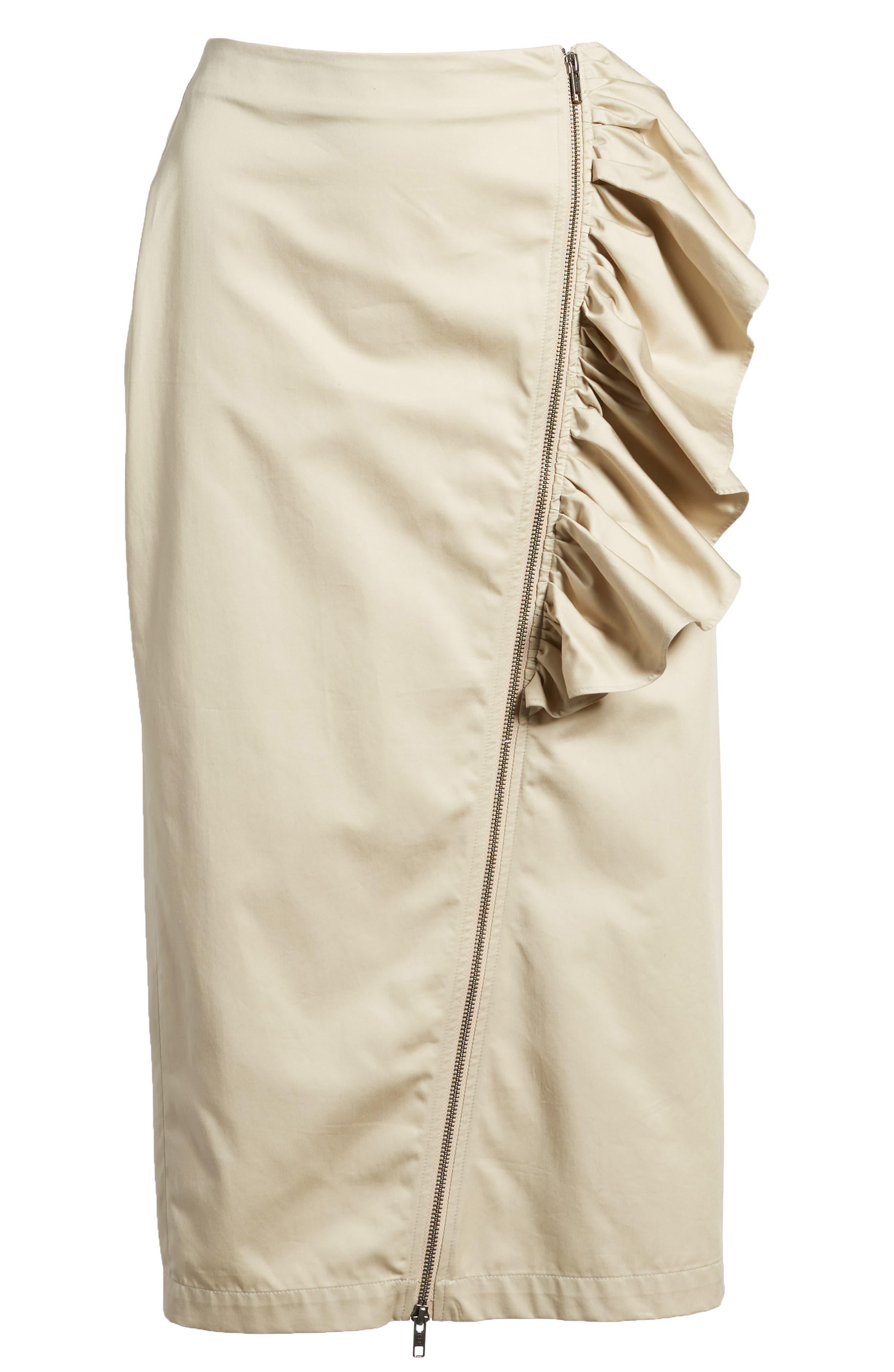 Asymmetrical Zip Ruffle Midi Skirt,                             Alternate thumbnail 6, color,                             Tan Oxford