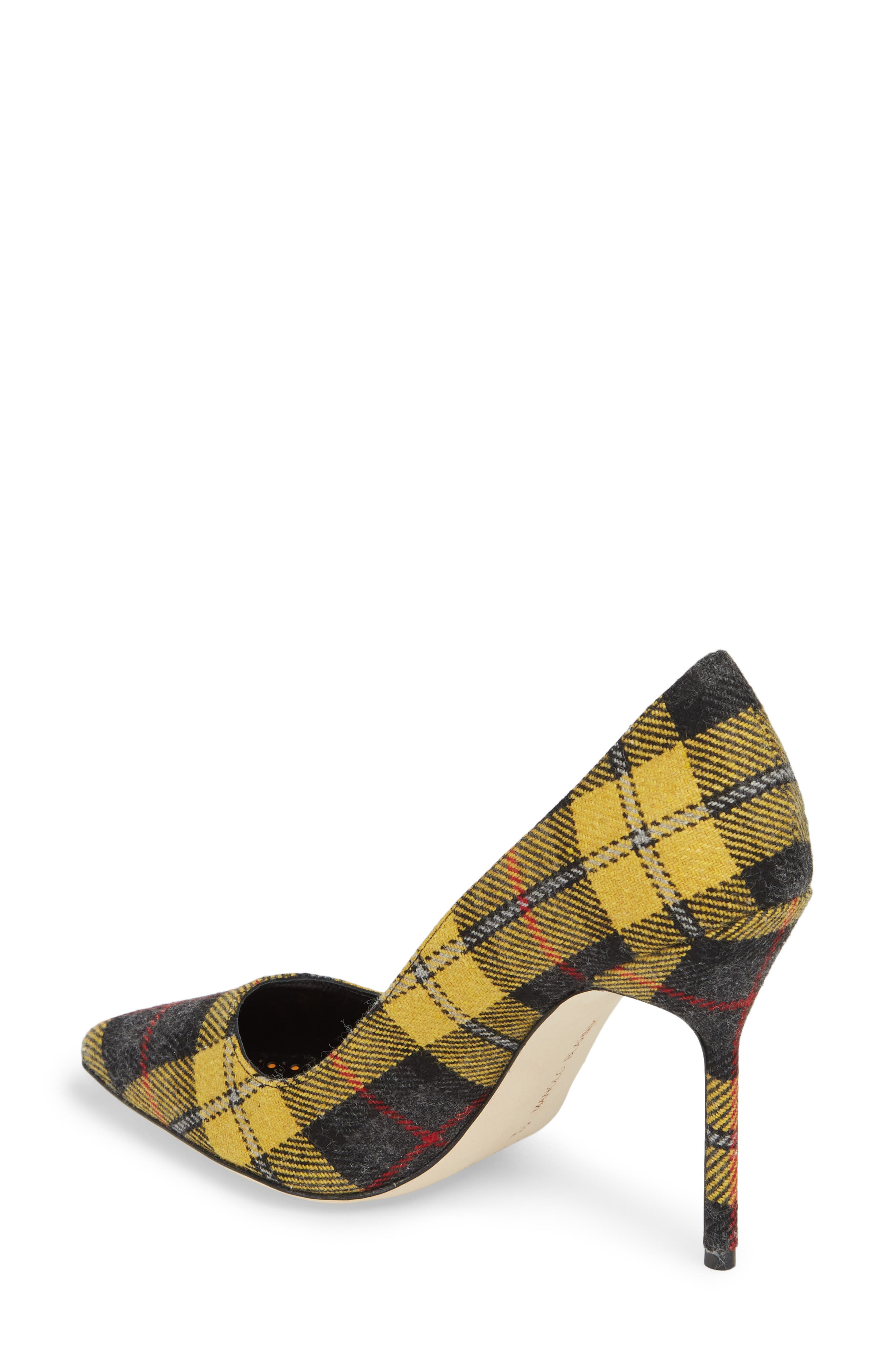 Pointy Toe Pump,                             Alternate thumbnail 2, color,                             Yellow Plaid
