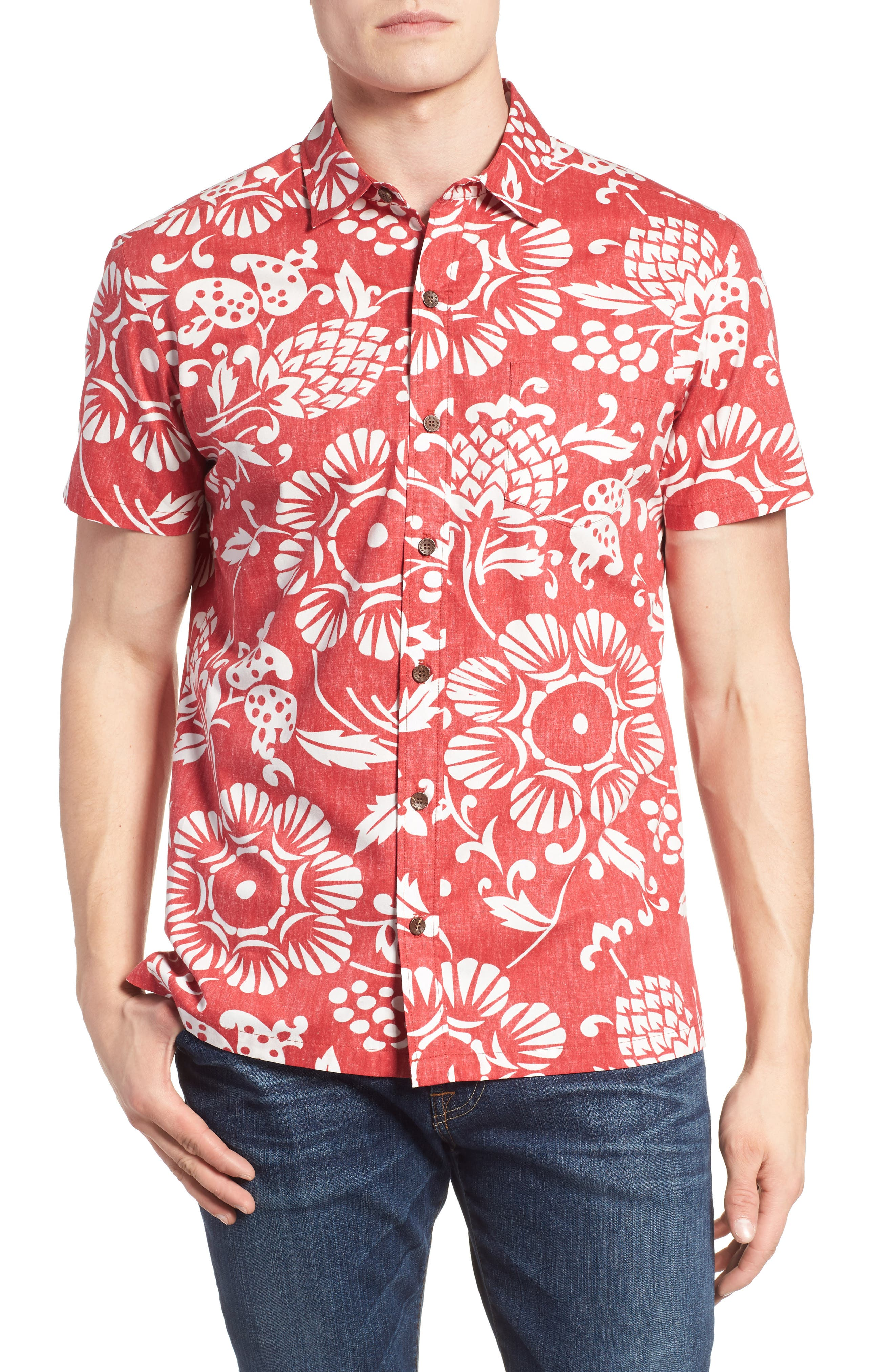 Duke's Pareo Trim Fit Sport Shirt,                         Main,                         color, Surfer Red