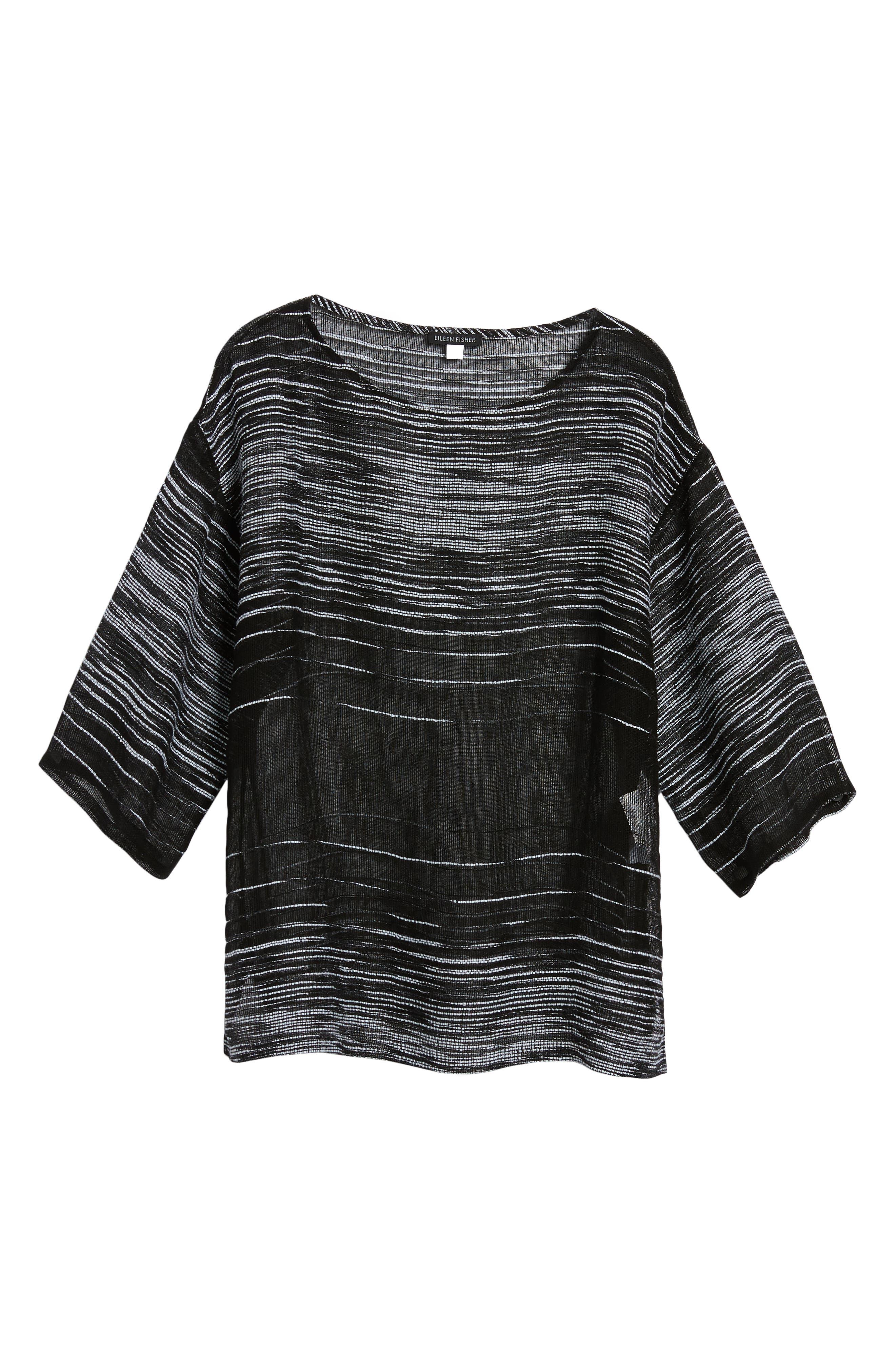 Organic Linen Blend Top,                             Alternate thumbnail 6, color,                             Black