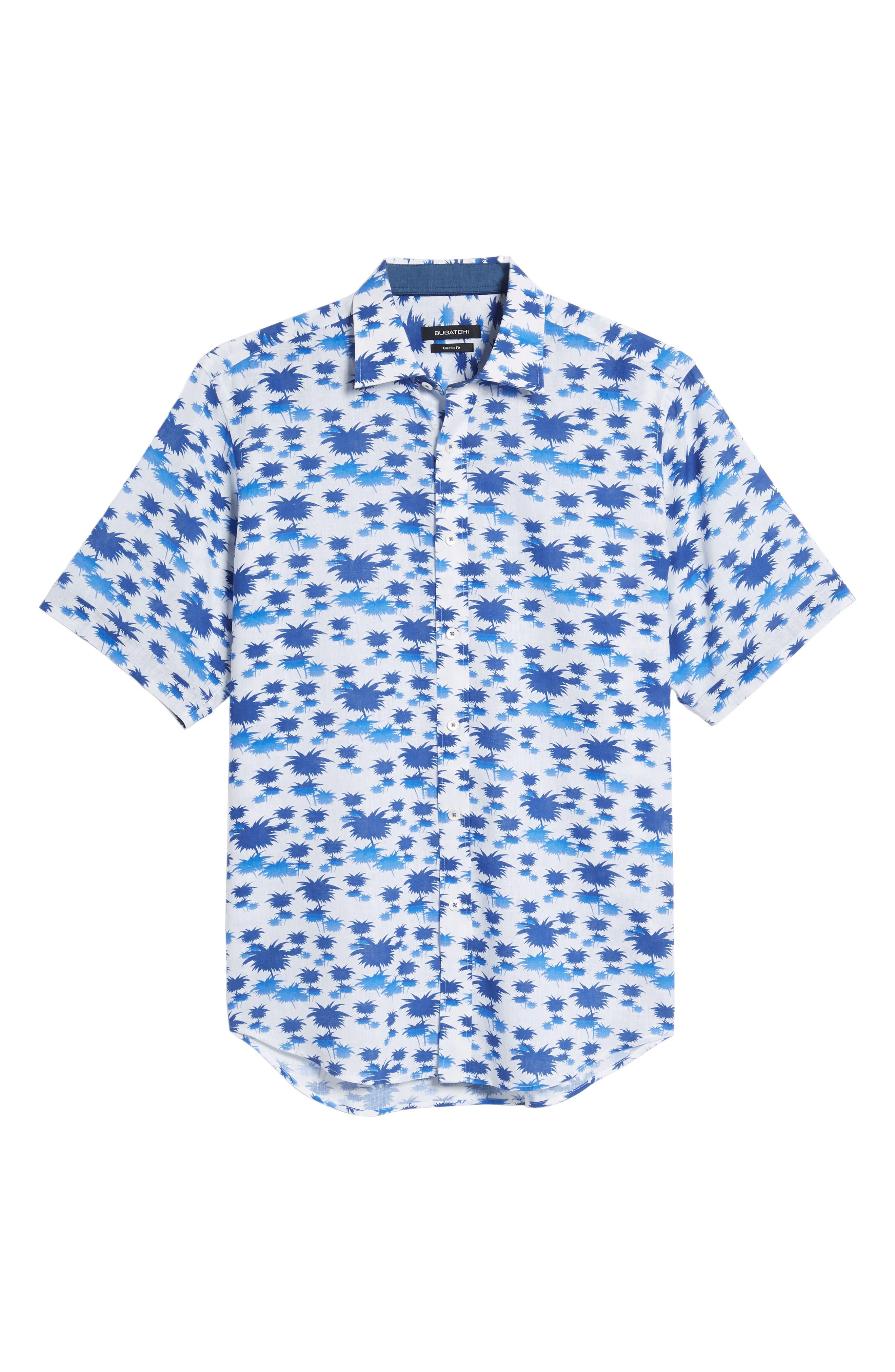 Classic Fit Palm Print Sport Shirt,                             Alternate thumbnail 6, color,                             Classic Blue
