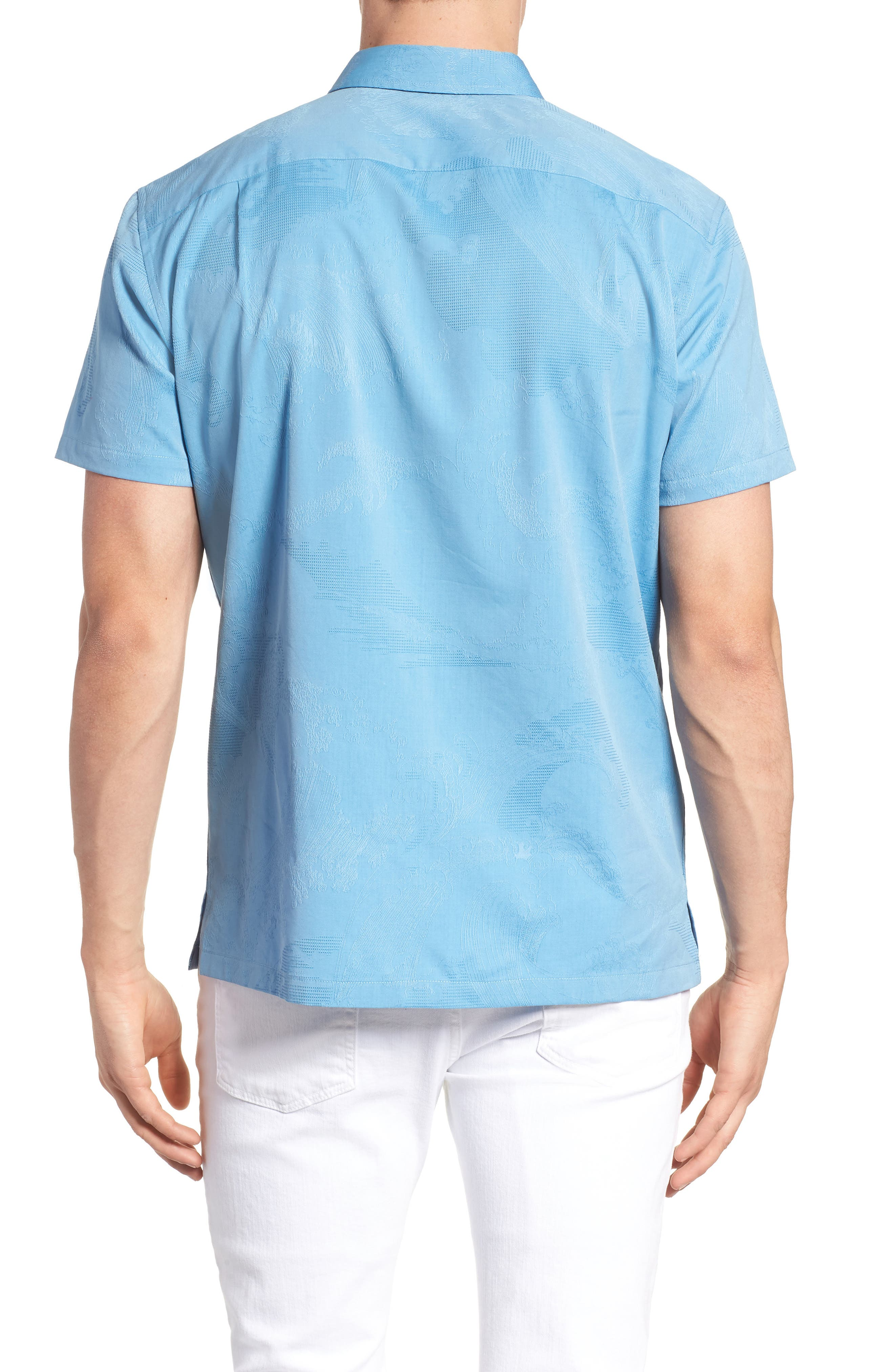 Seas the Day Trim Fit Cotton & Silk Camp Shirt,                             Alternate thumbnail 5, color,                             Wave