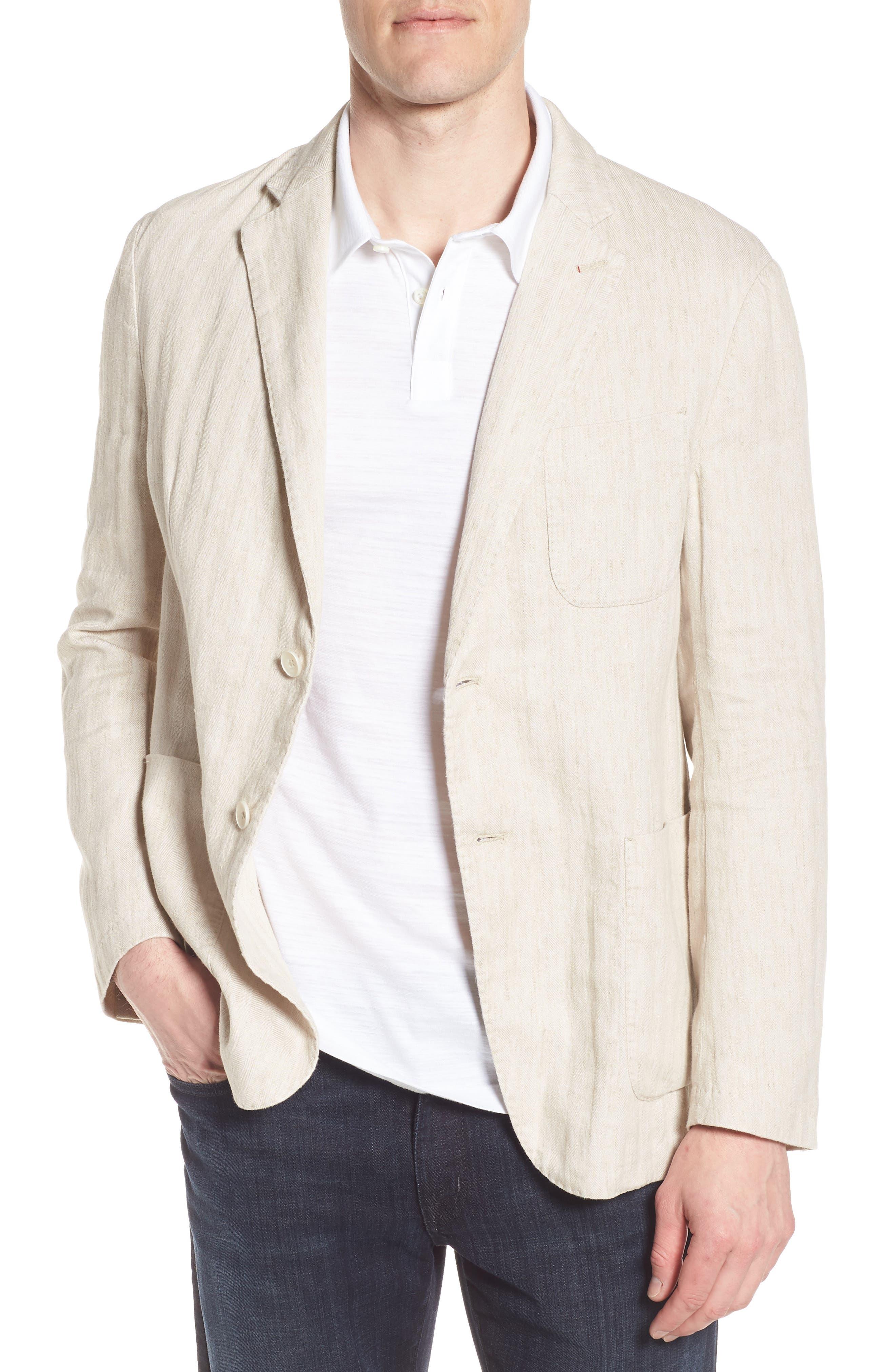 Regular Fit Herringbone Cotton & Linen Blazer,                         Main,                         color, Sand