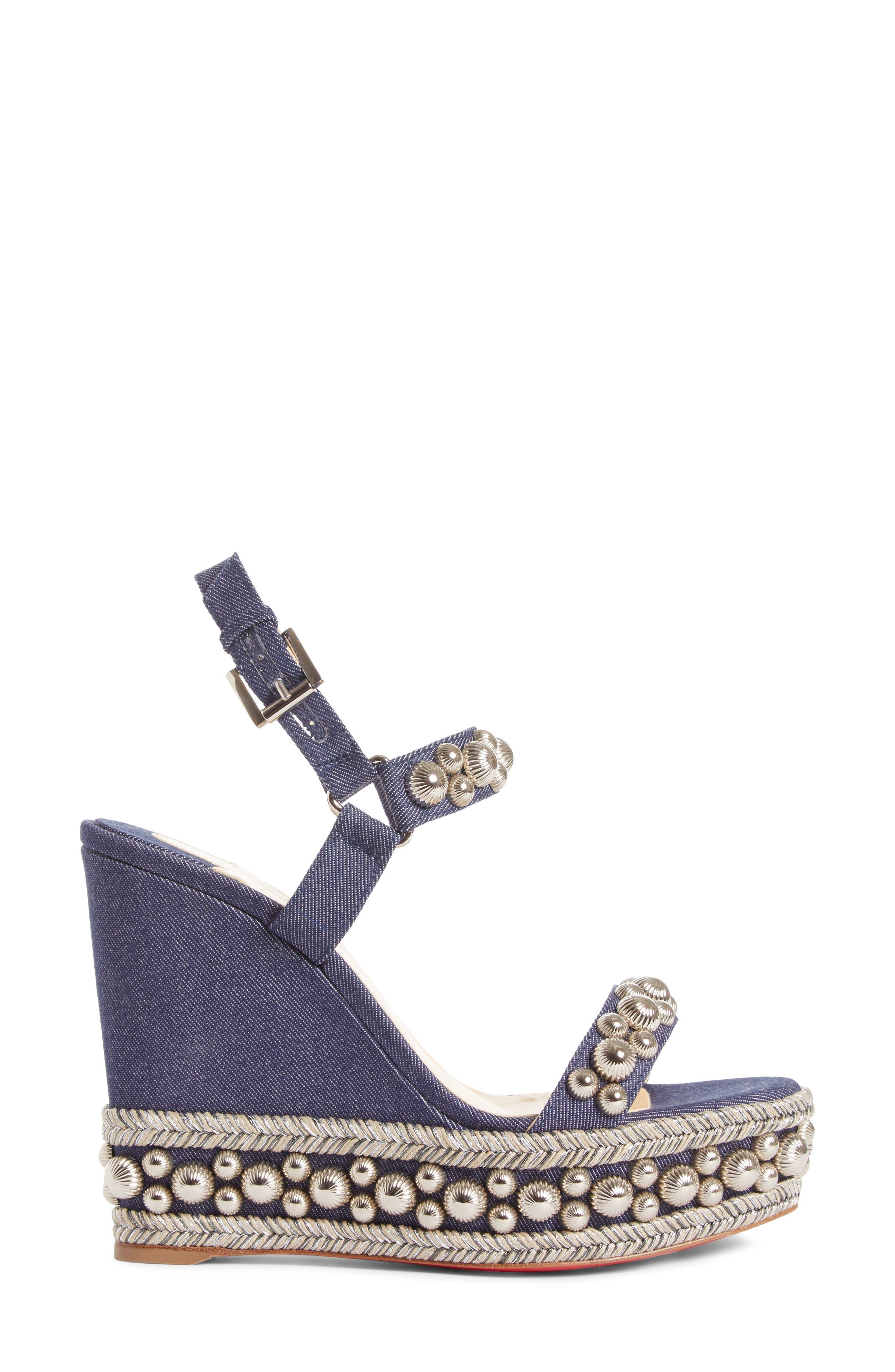 Rondaclou Studded Wedge Sandal,                             Alternate thumbnail 3, color,                             Denim Blue