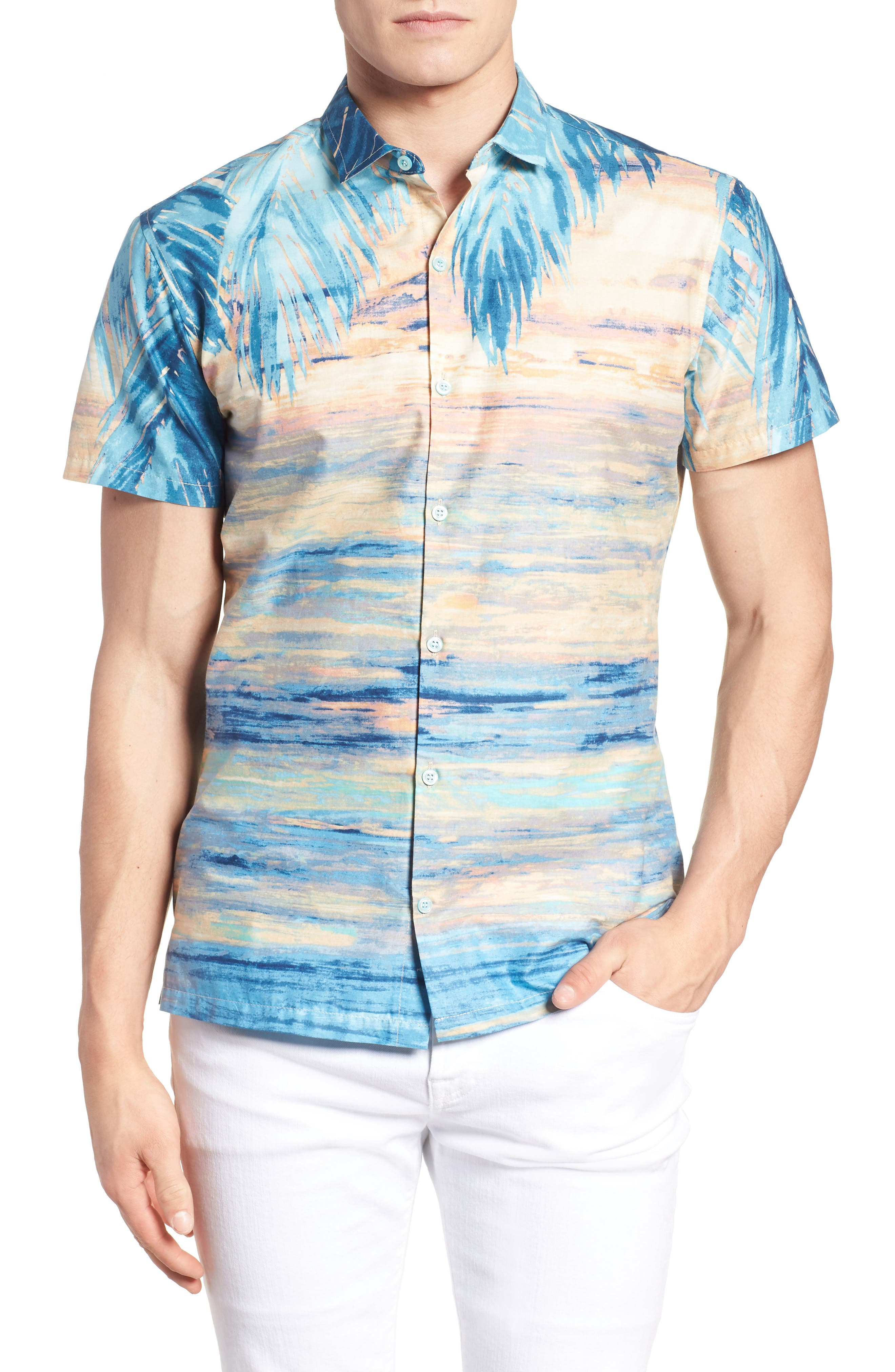 Perfect Day Trim Fit Sport Shirt,                         Main,                         color, Sunset