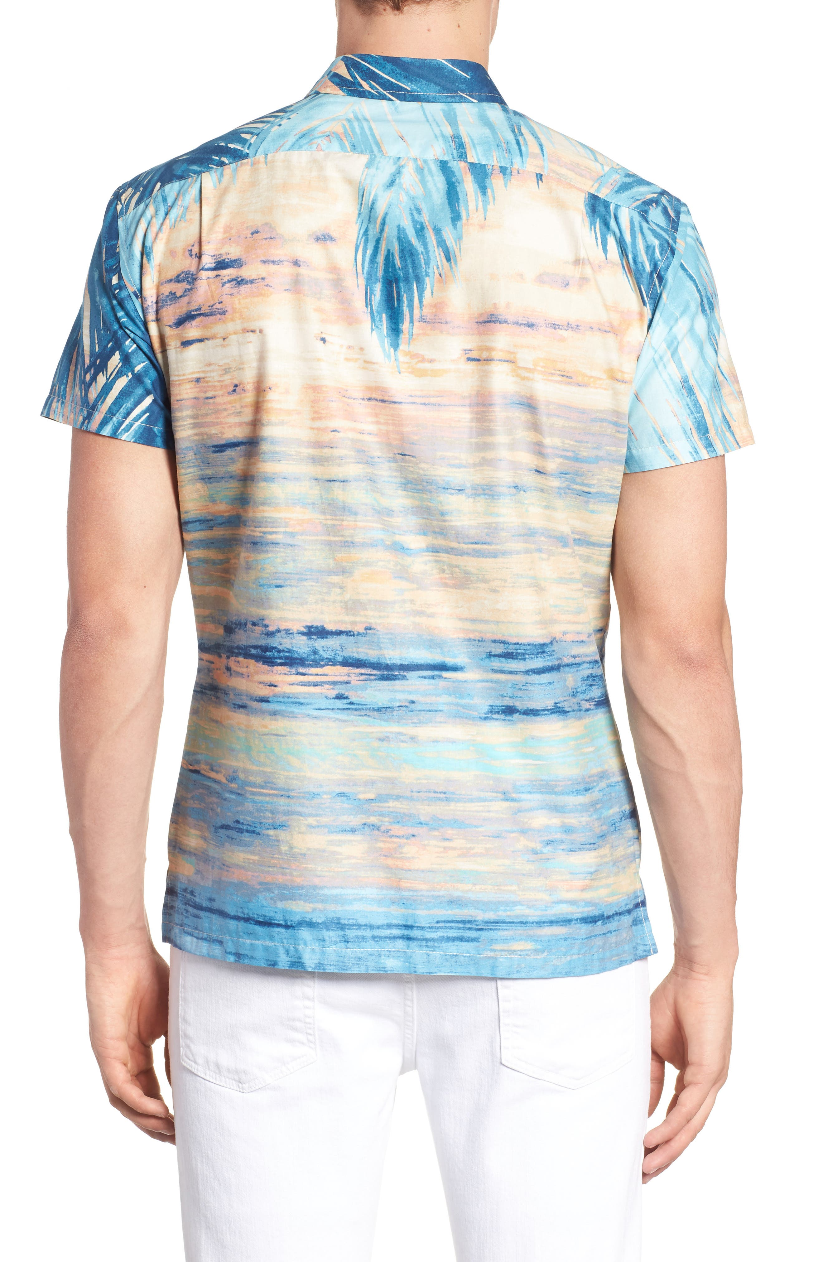 Perfect Day Trim Fit Sport Shirt,                             Alternate thumbnail 4, color,                             Sunset