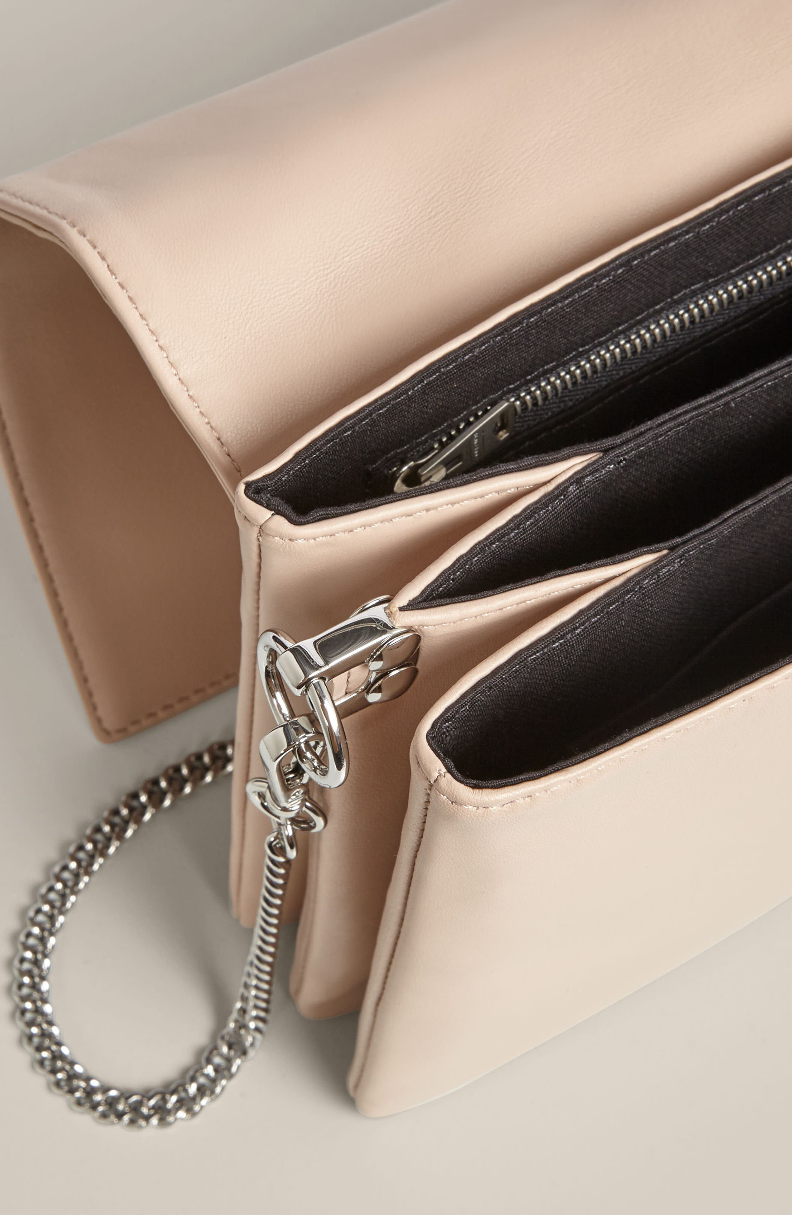Zep Lambskin Leather Box Bag,                             Alternate thumbnail 3, color,                             Natural