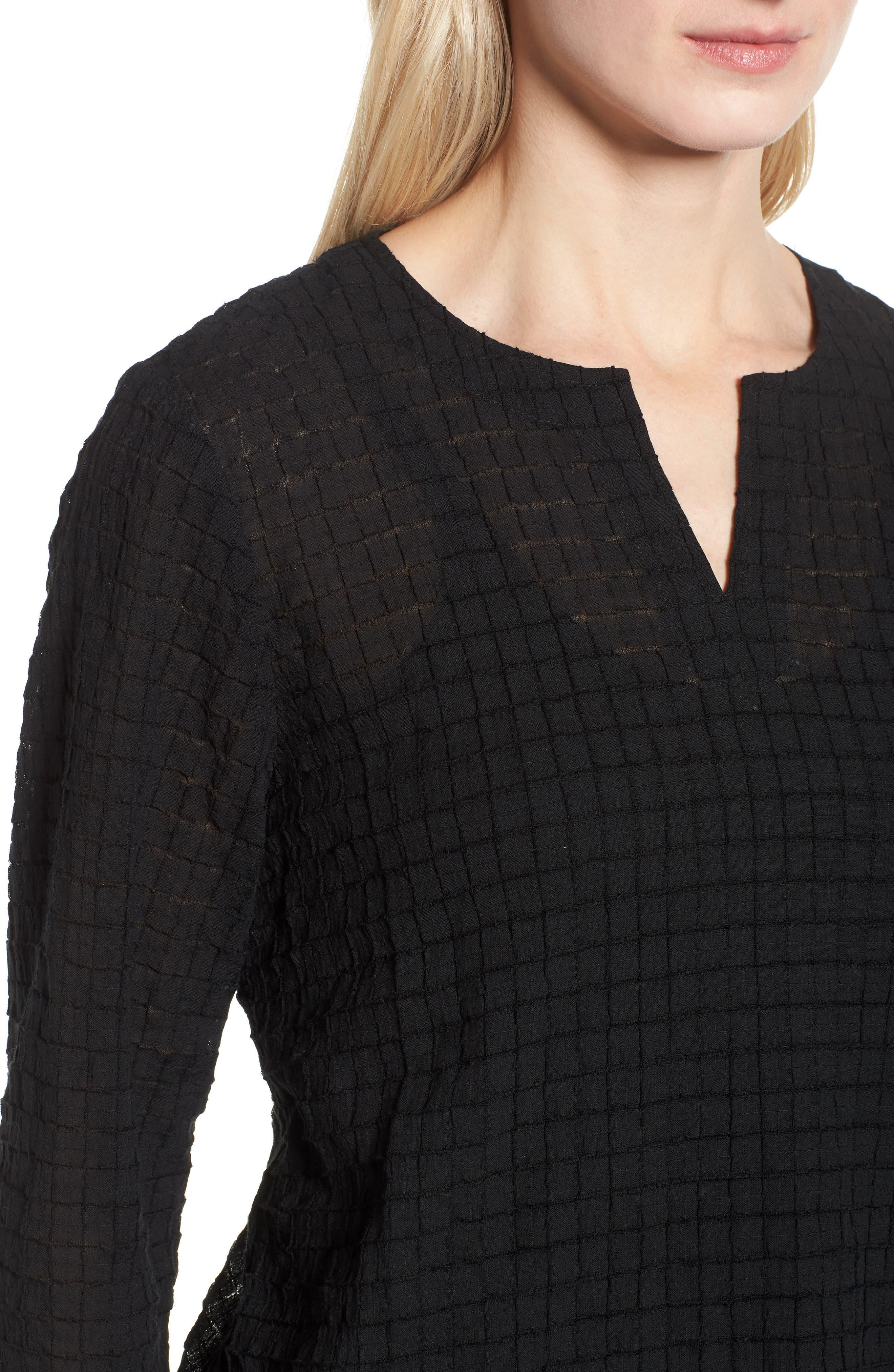 Stretch Organic Cotton Tunic,                             Alternate thumbnail 4, color,                             Black