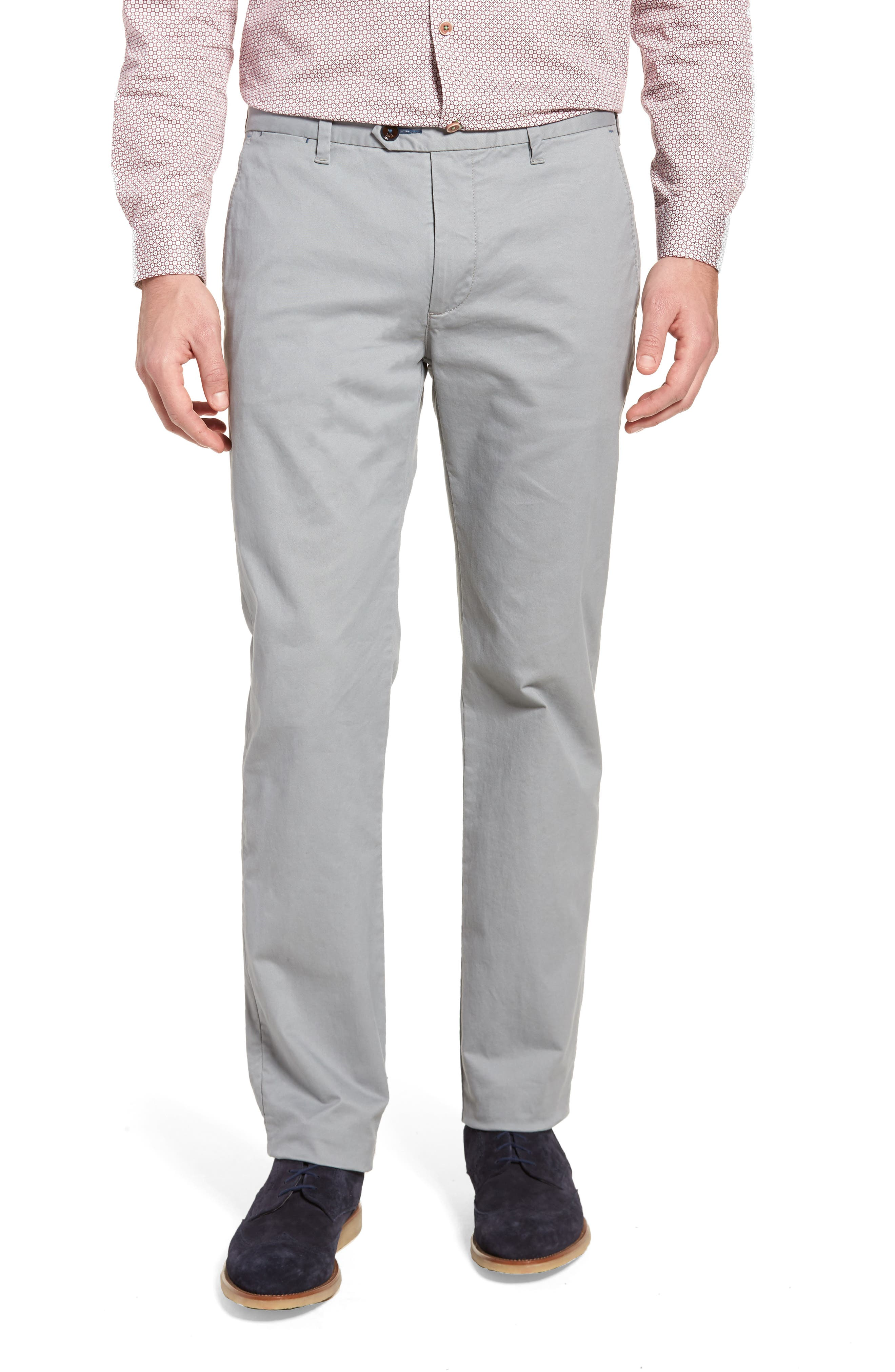Proctt Flat Front Stretch Solid Cotton Pants,                         Main,                         color, Light Grey