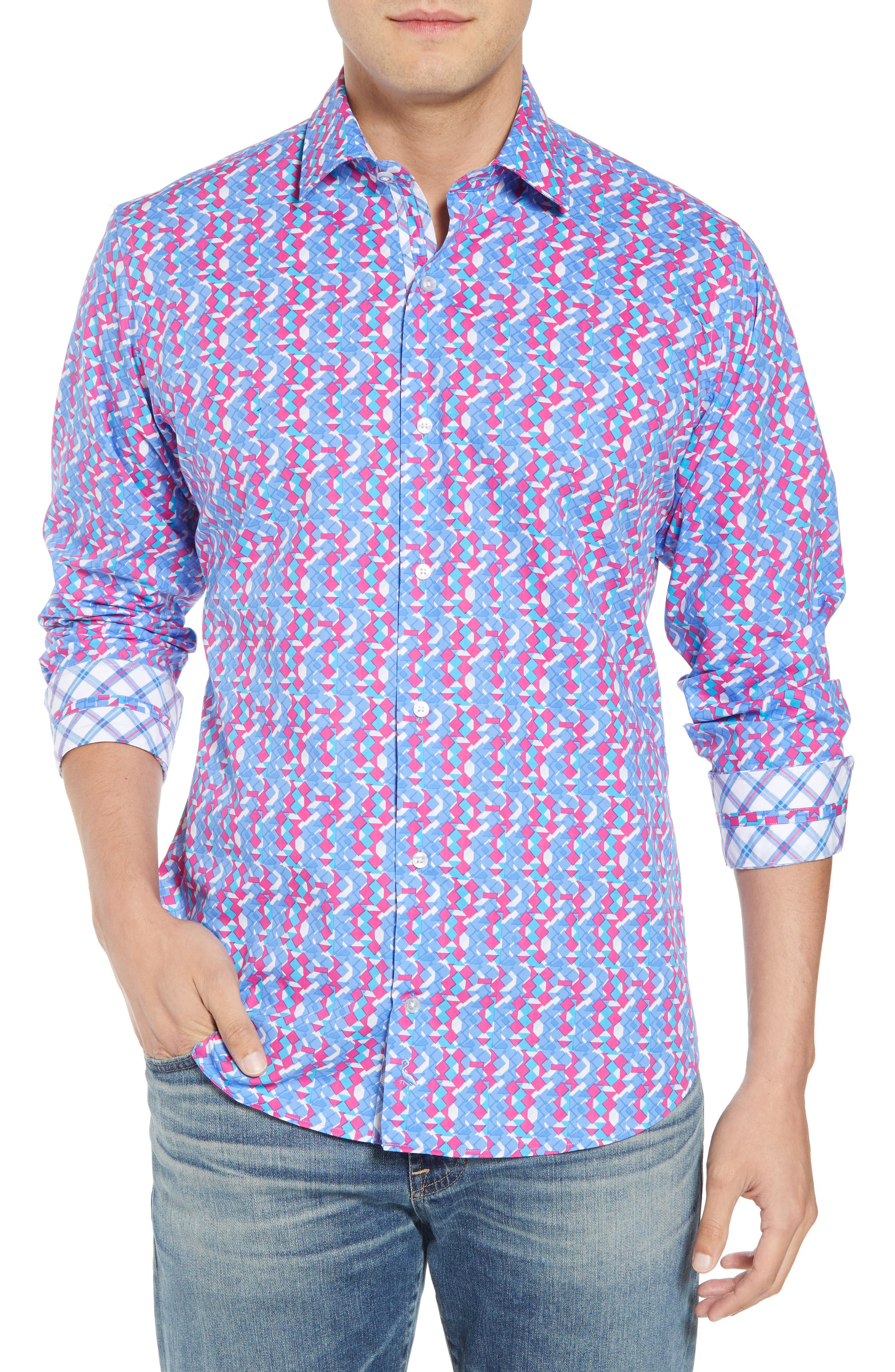 Beal Regular Fit Geo Print Sport Shirt,                         Main,                         color, Peri Blue