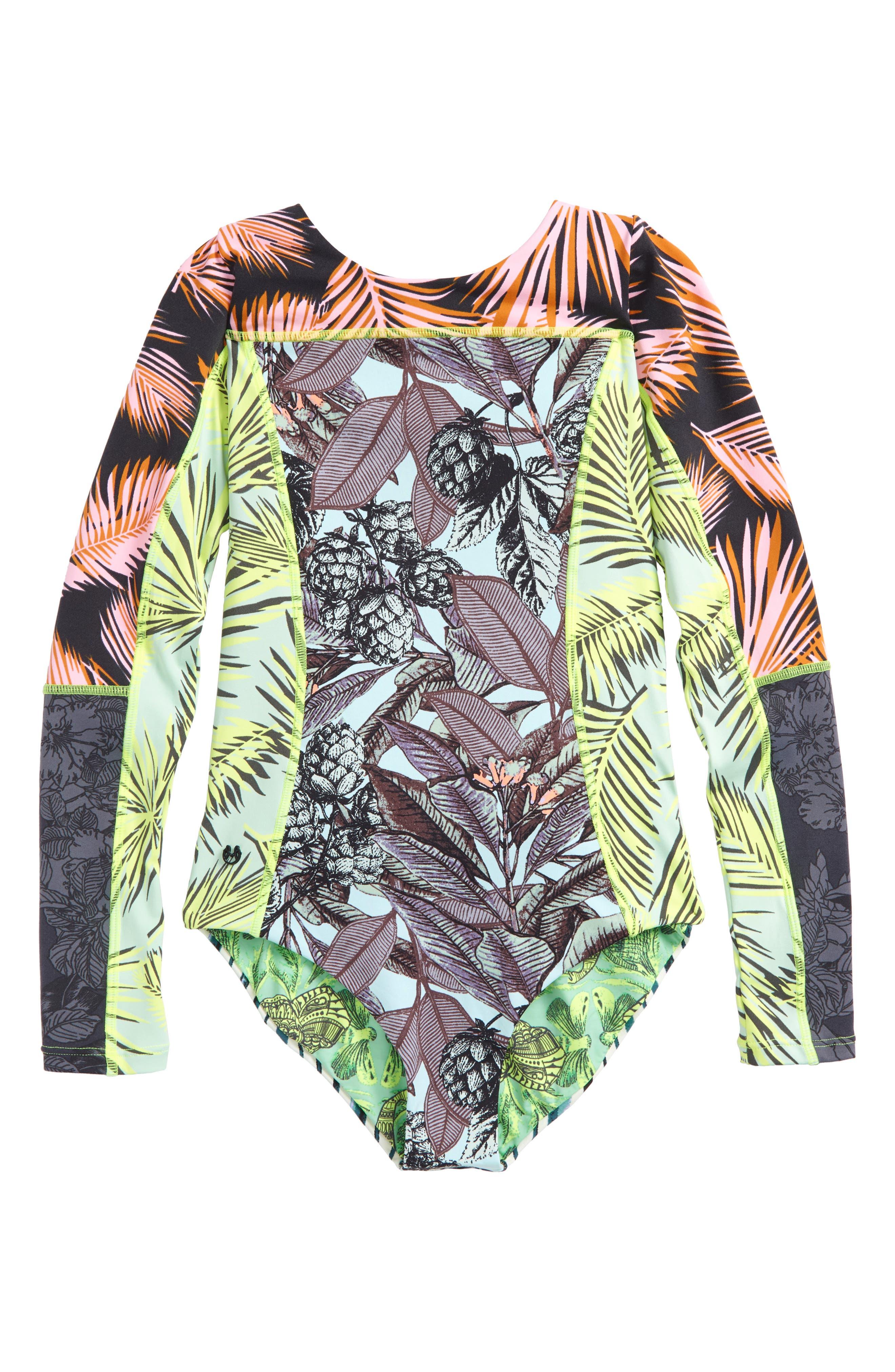 Greenwoods Long Sleeve Rashguard Swimsuit,                             Main thumbnail 1, color,                             Green