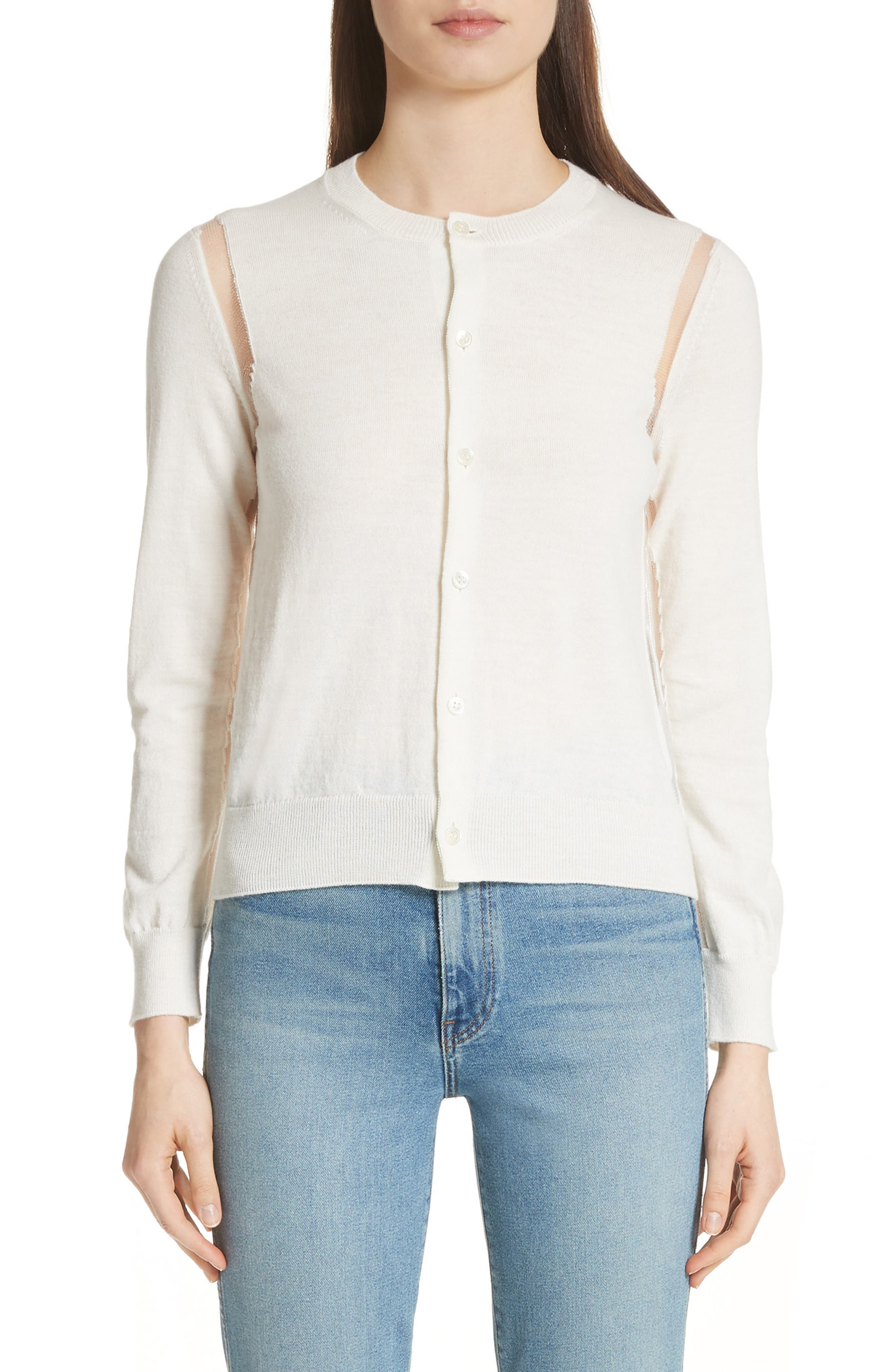 Sheer Panel Button Cardigan,                             Main thumbnail 1, color,                             Off White