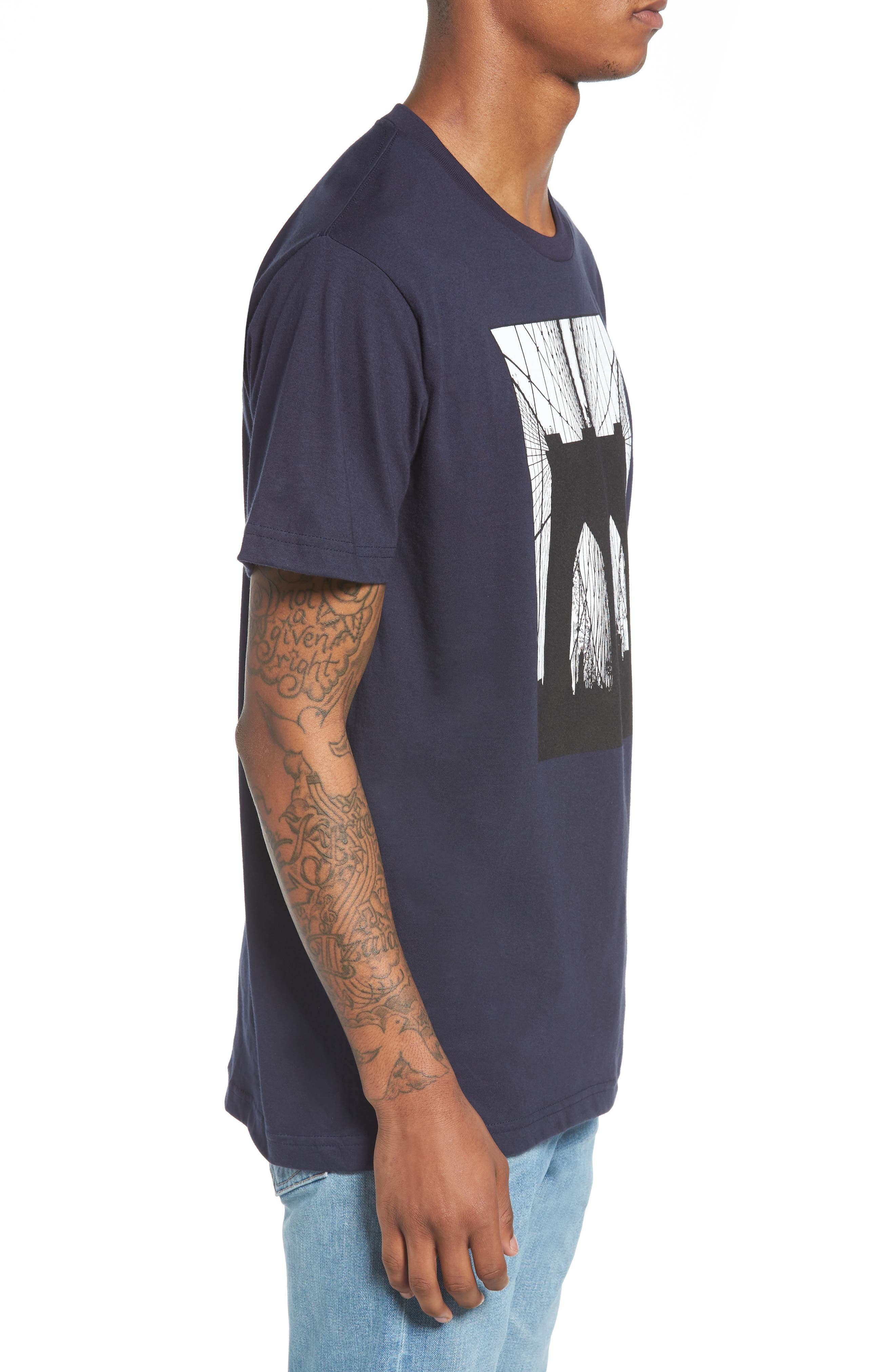 Brooklyn Bridge Graphic T-Shirt,                             Alternate thumbnail 3, color,                             Navy