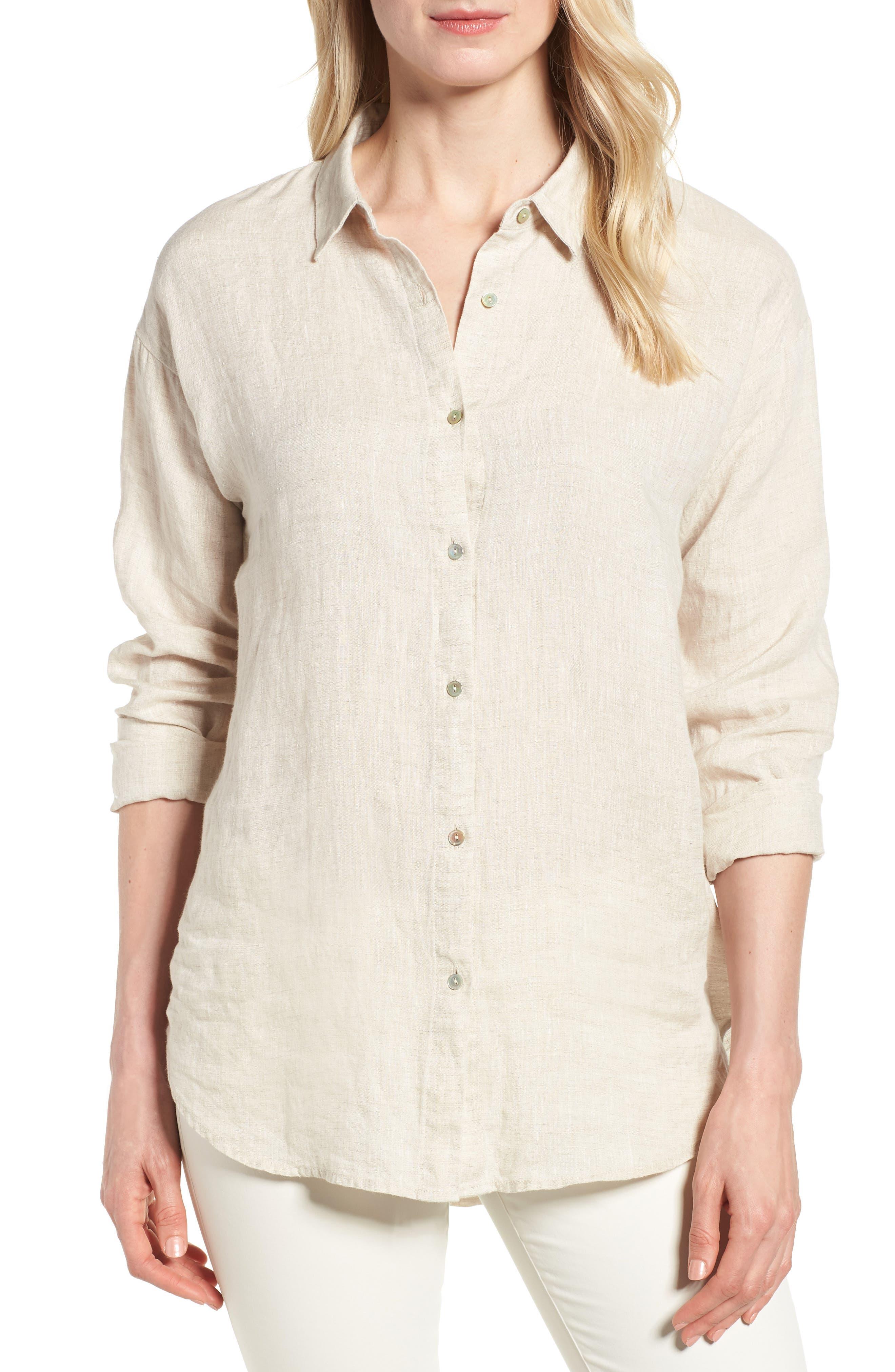 Organic Linen Shirt,                         Main,                         color, Natural