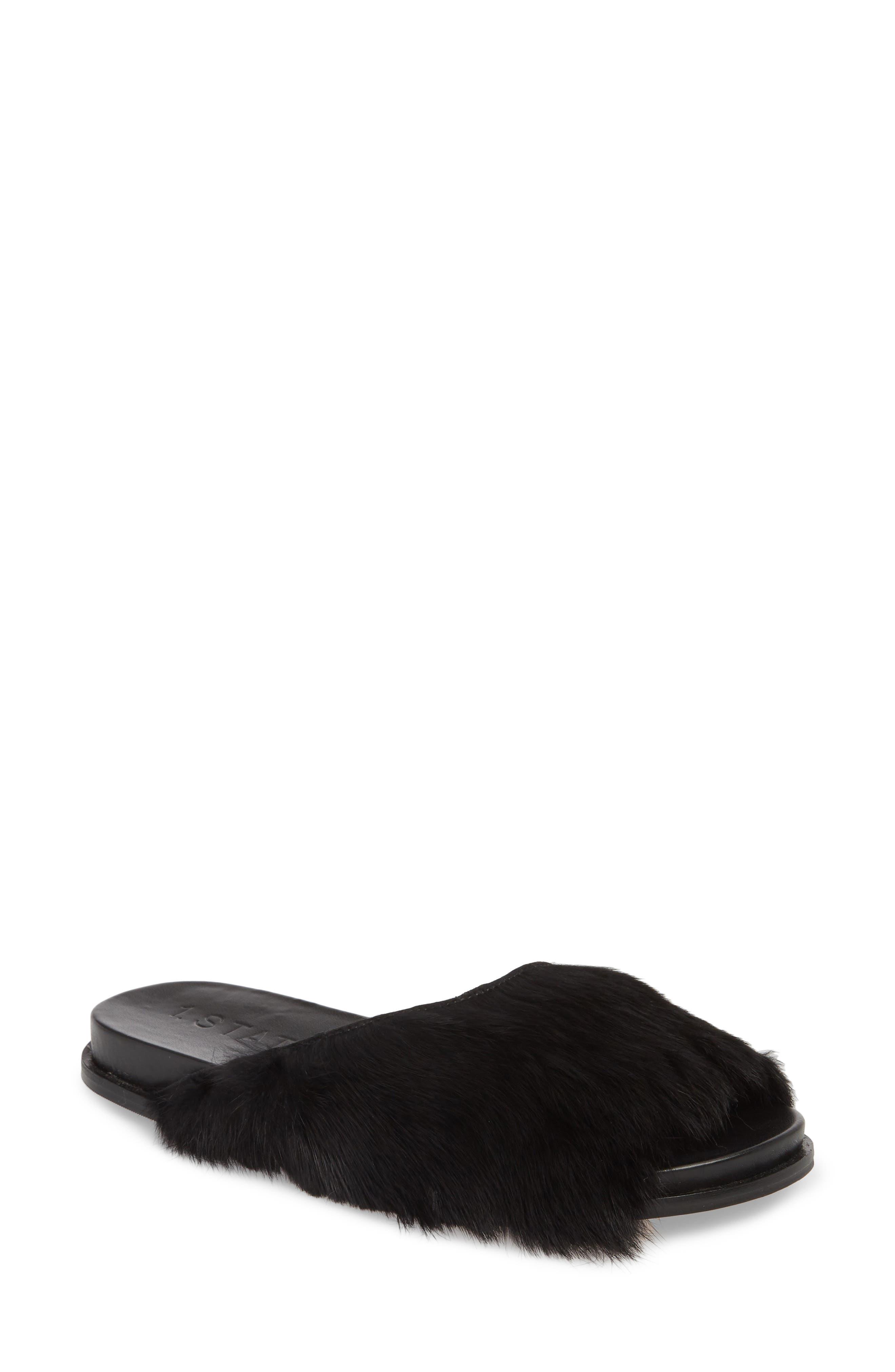 Onora Slide Sandal,                             Main thumbnail 1, color,                             Black Rabbit Fur