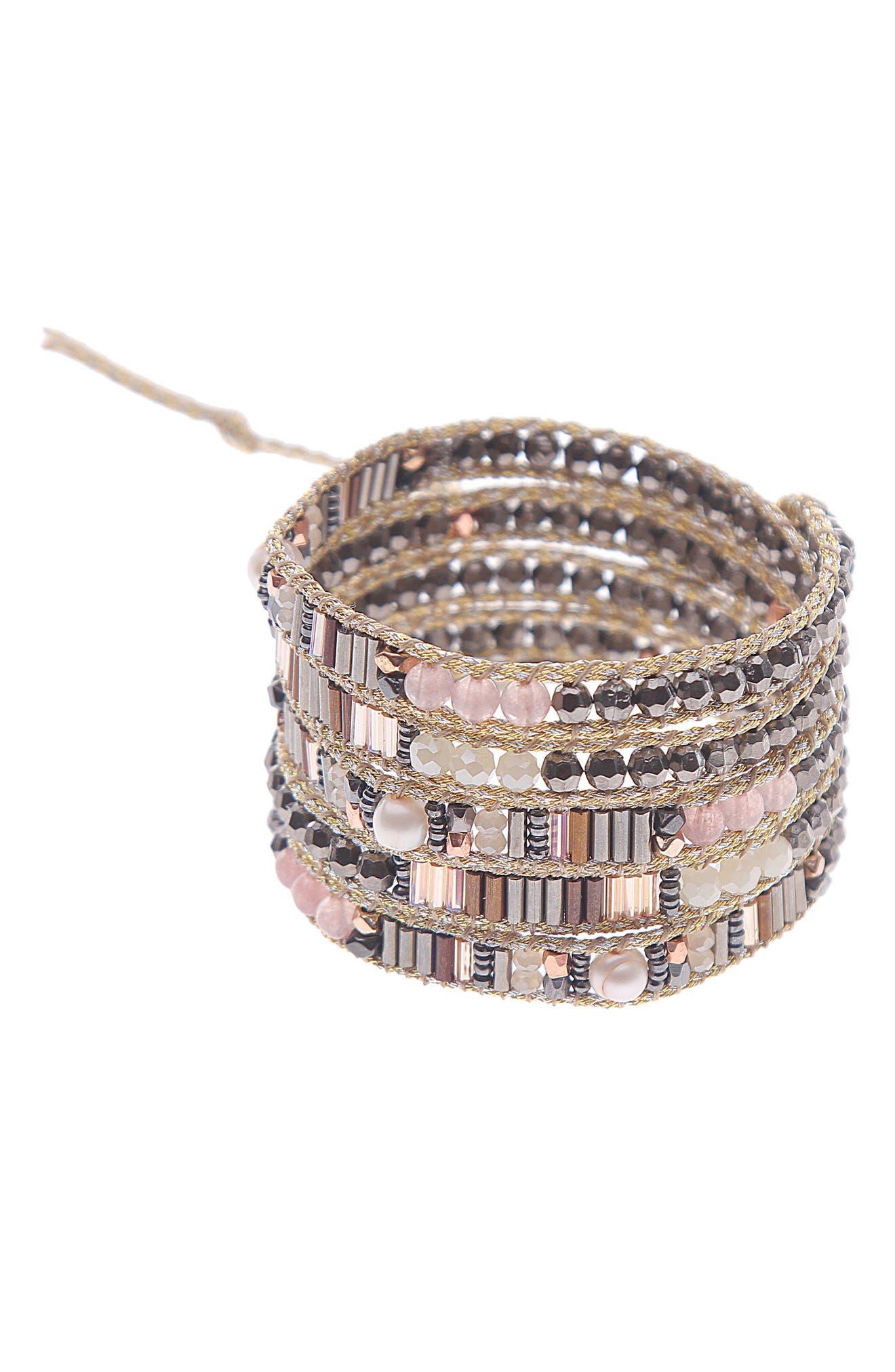 Crystal Beaded Wrap Bracelet,                         Main,                         color, Gunmetal/ Creme