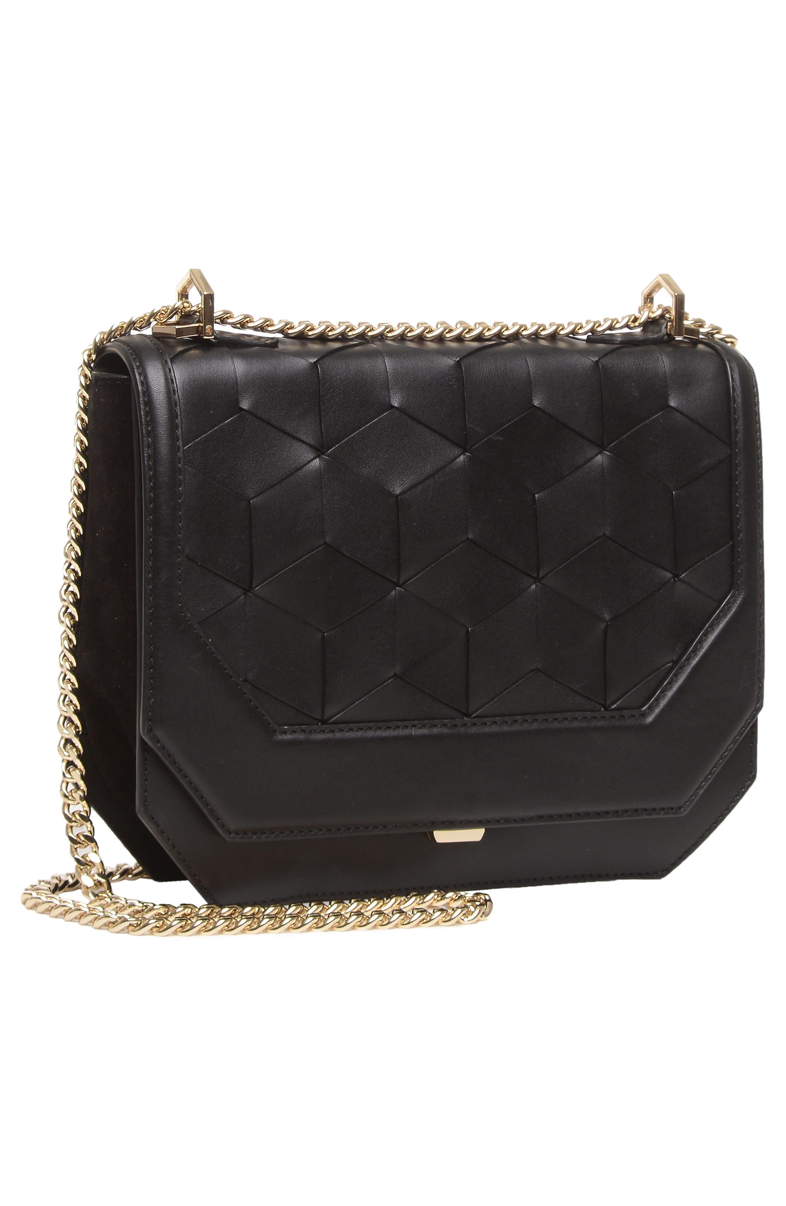 Supine Leather Shoulder Bag,                             Alternate thumbnail 4, color,                             Black