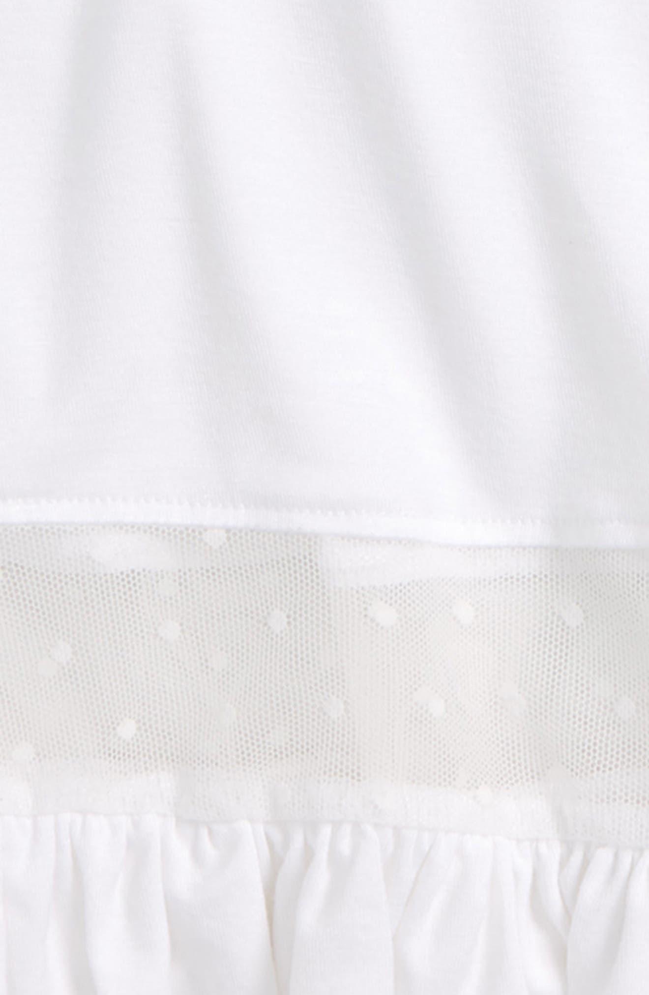 Mesh Inset Ruffle Tee,                             Alternate thumbnail 2, color,                             White