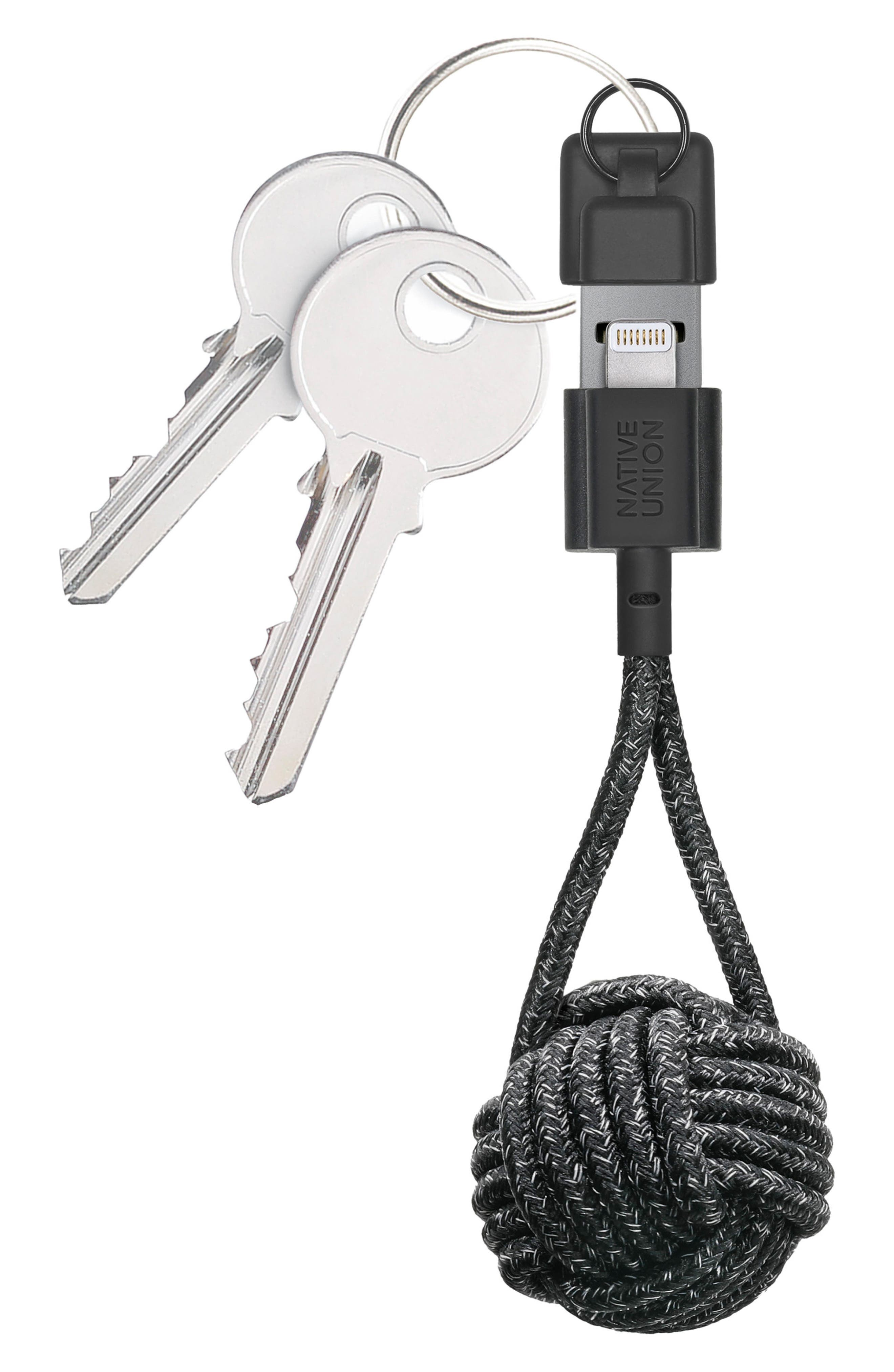 KEY Lightning Charging Cable Key Chain,                             Main thumbnail 1, color,                             Black And White