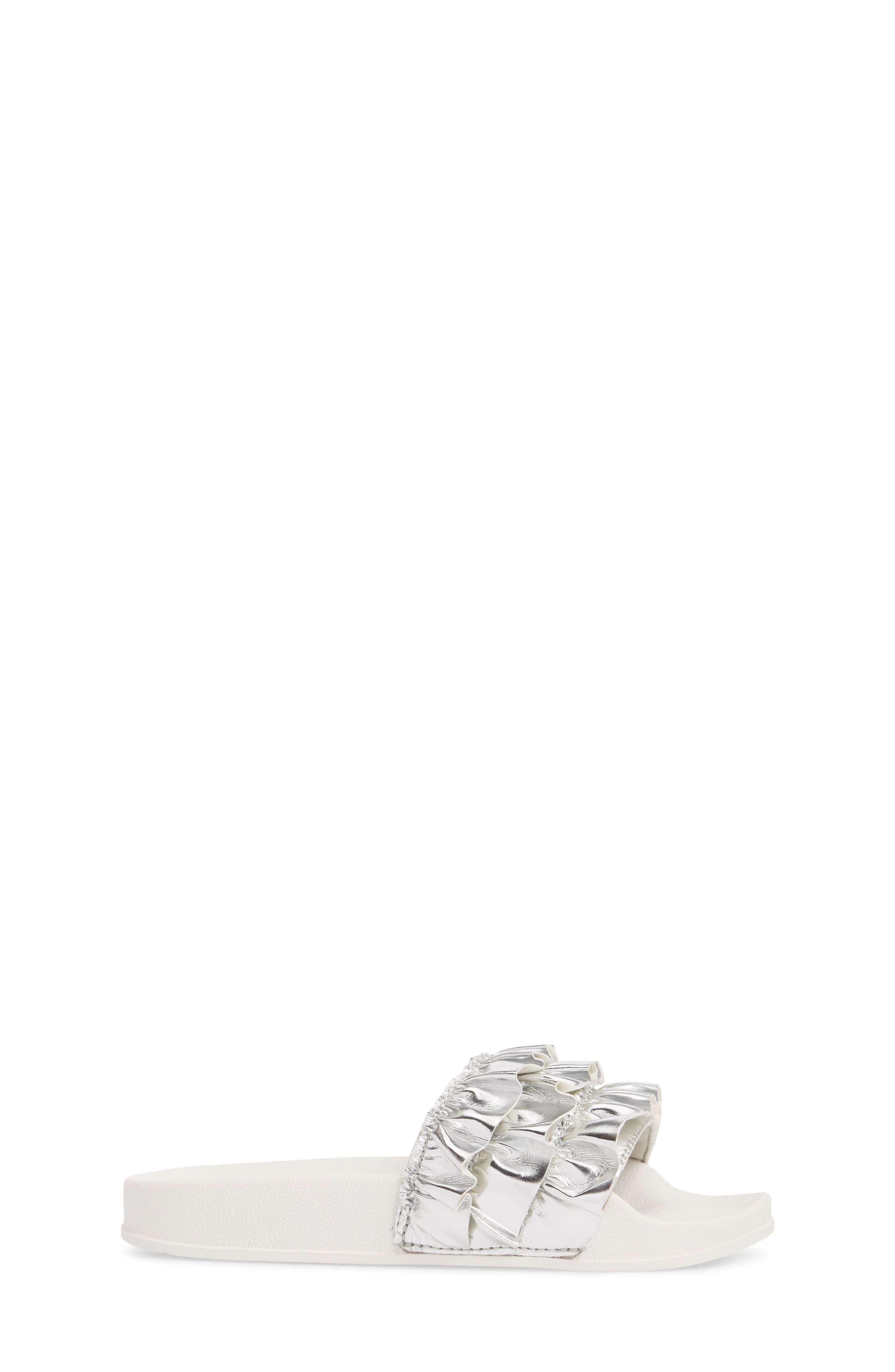 Metallic Ruffle Slide Sandal,                             Alternate thumbnail 3, color,                             Silver Faux Leather