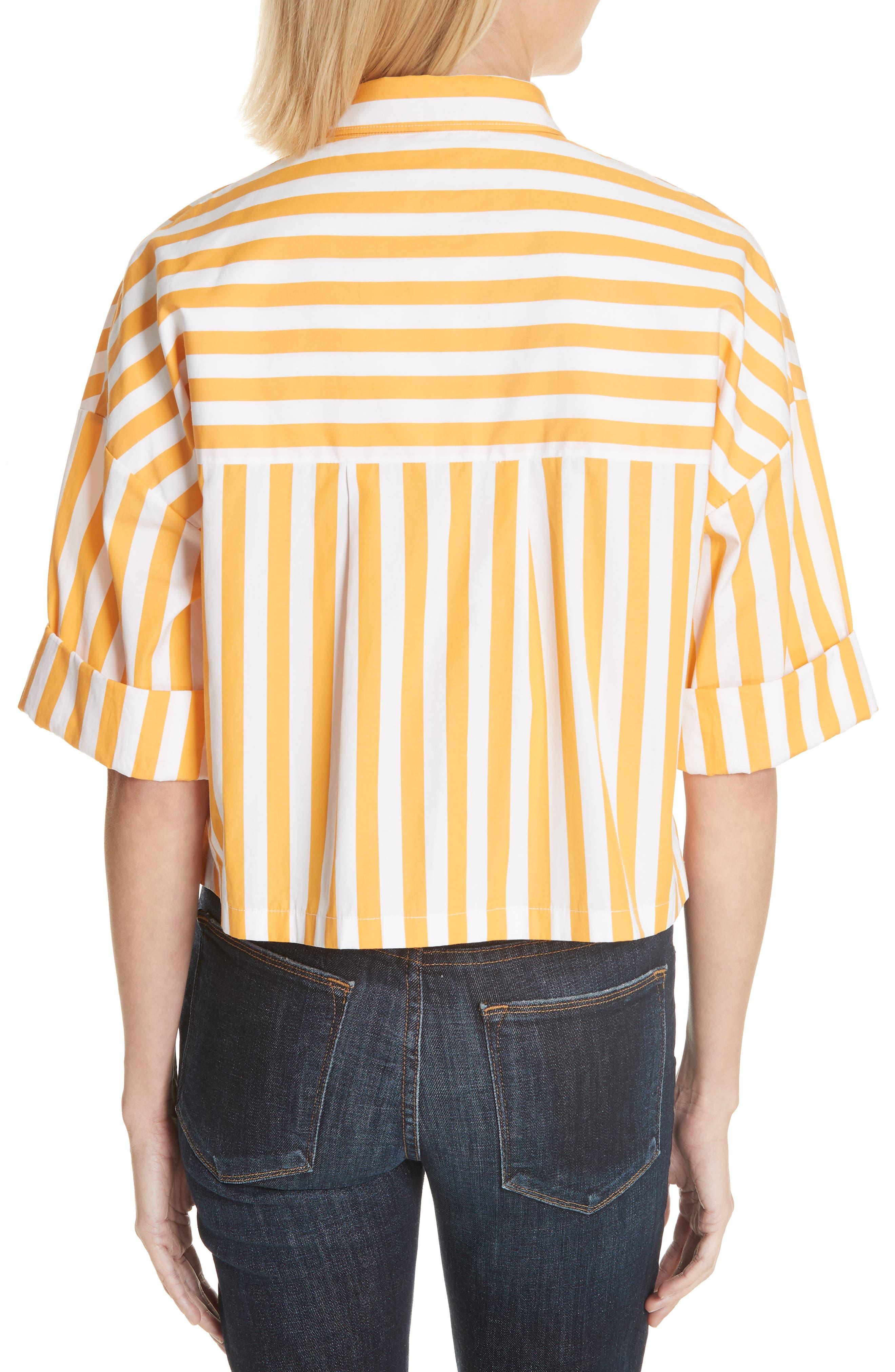 The Keaton Stripe Crop Shirt,                             Alternate thumbnail 2, color,                             White/ Marigold