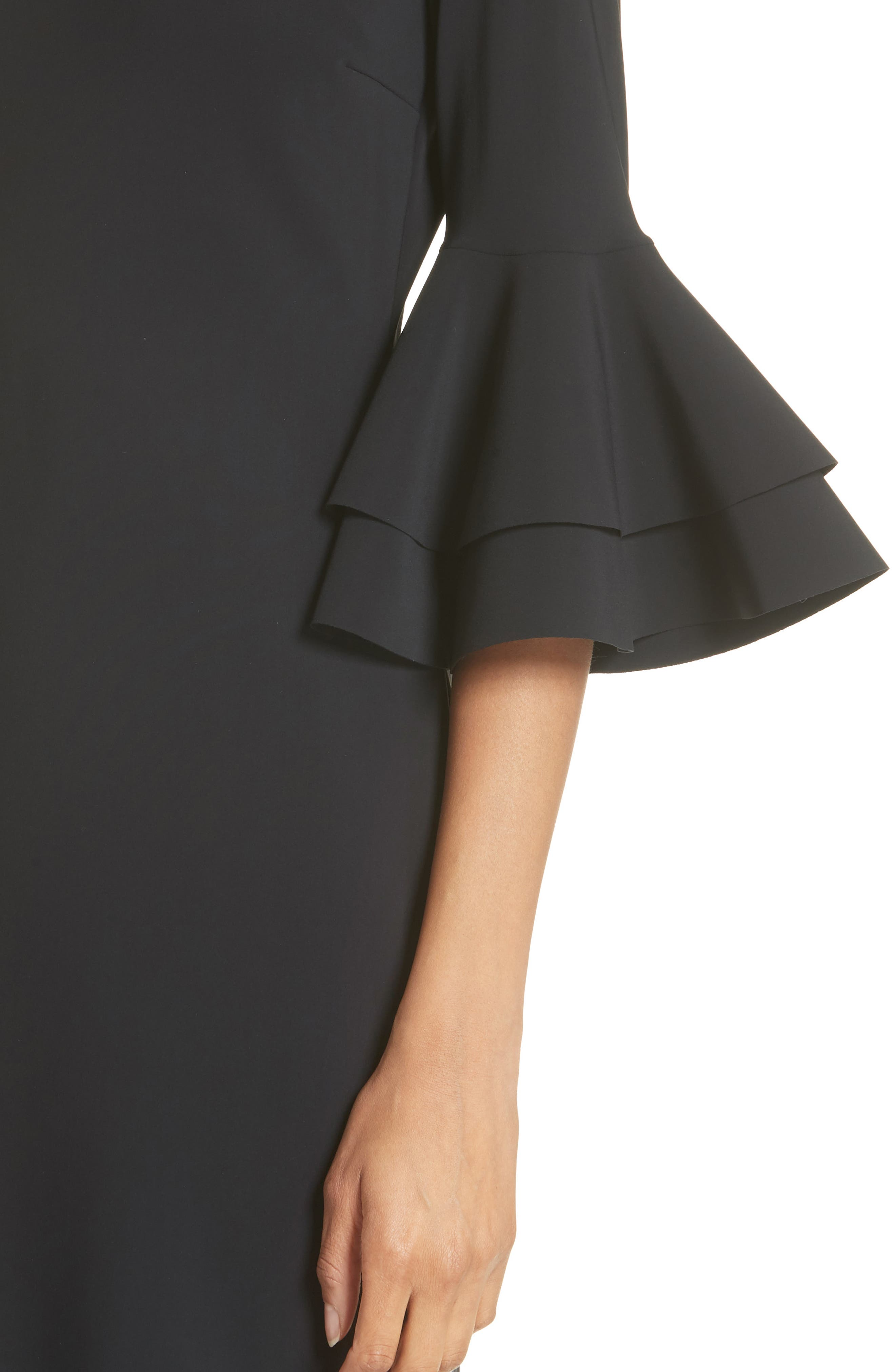 Iva Ruffle Bell Sleeve Gown,                             Alternate thumbnail 4, color,                             Black