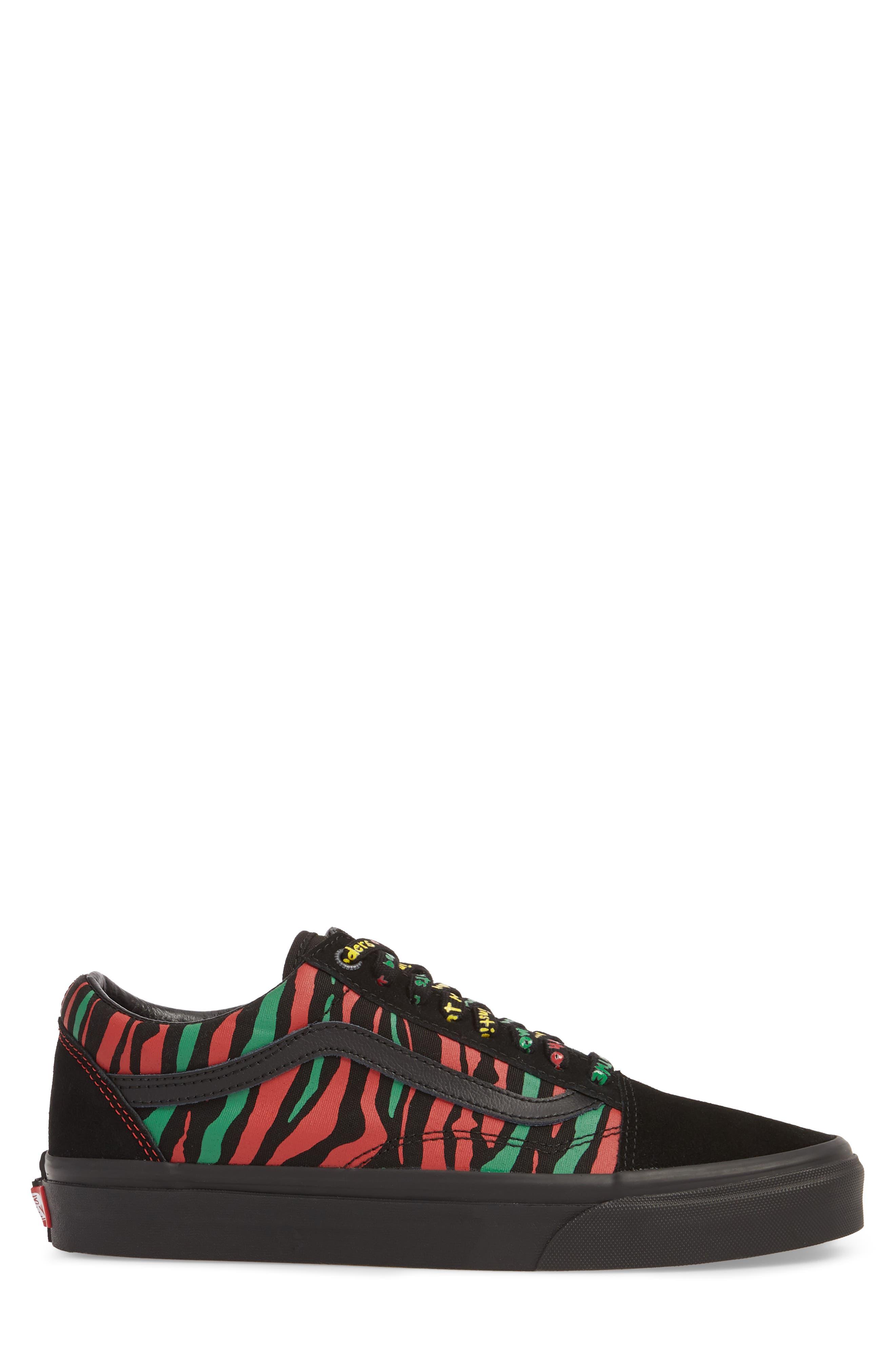 ATCQ Old Skool Sneaker,                             Alternate thumbnail 3, color,                             Black Leather