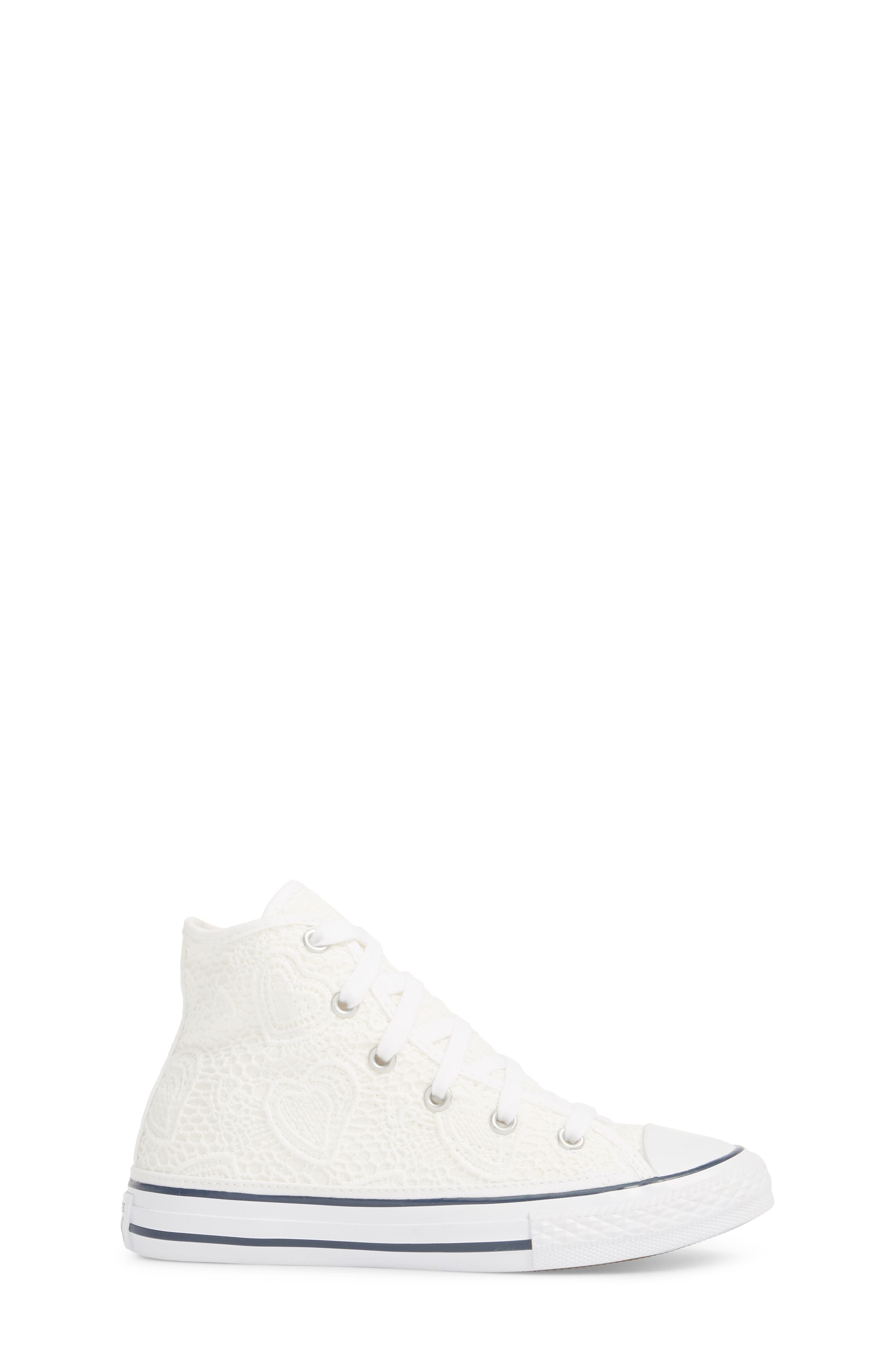 Chuck Taylor<sup>®</sup> All Star<sup>®</sup> Crochet High Top Sneaker,                             Alternate thumbnail 3, color,                             White
