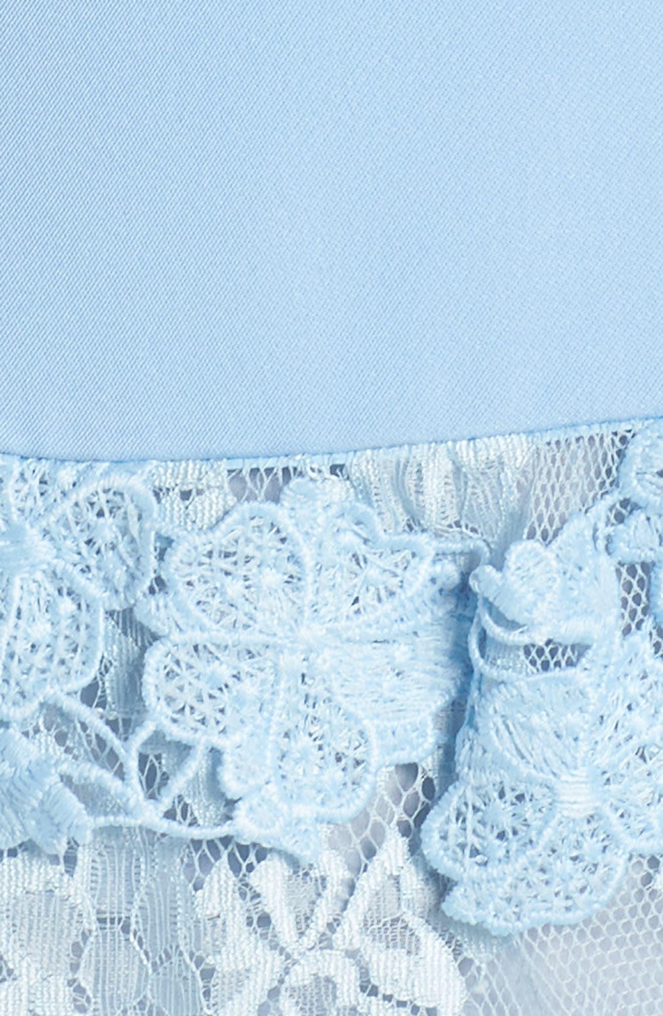 Flamenco Lace Fit & Flare Dress,                             Alternate thumbnail 5, color,                             Blue