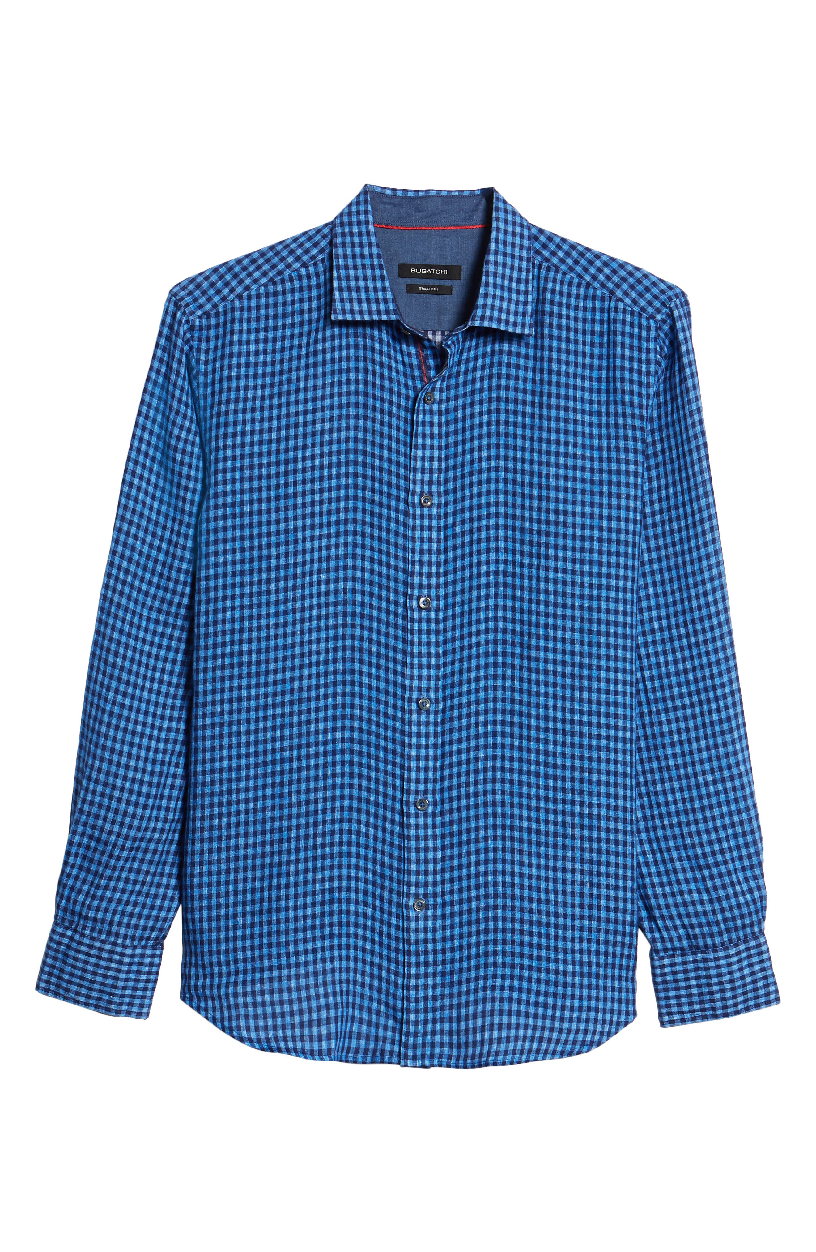Shaped Fit Check Linen Sport Shirt,                             Alternate thumbnail 6, color,                             Classic Blue